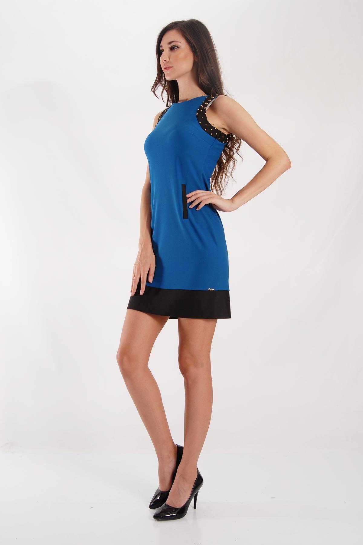 Sıfır Kollu Petrol Elbise G5-53493