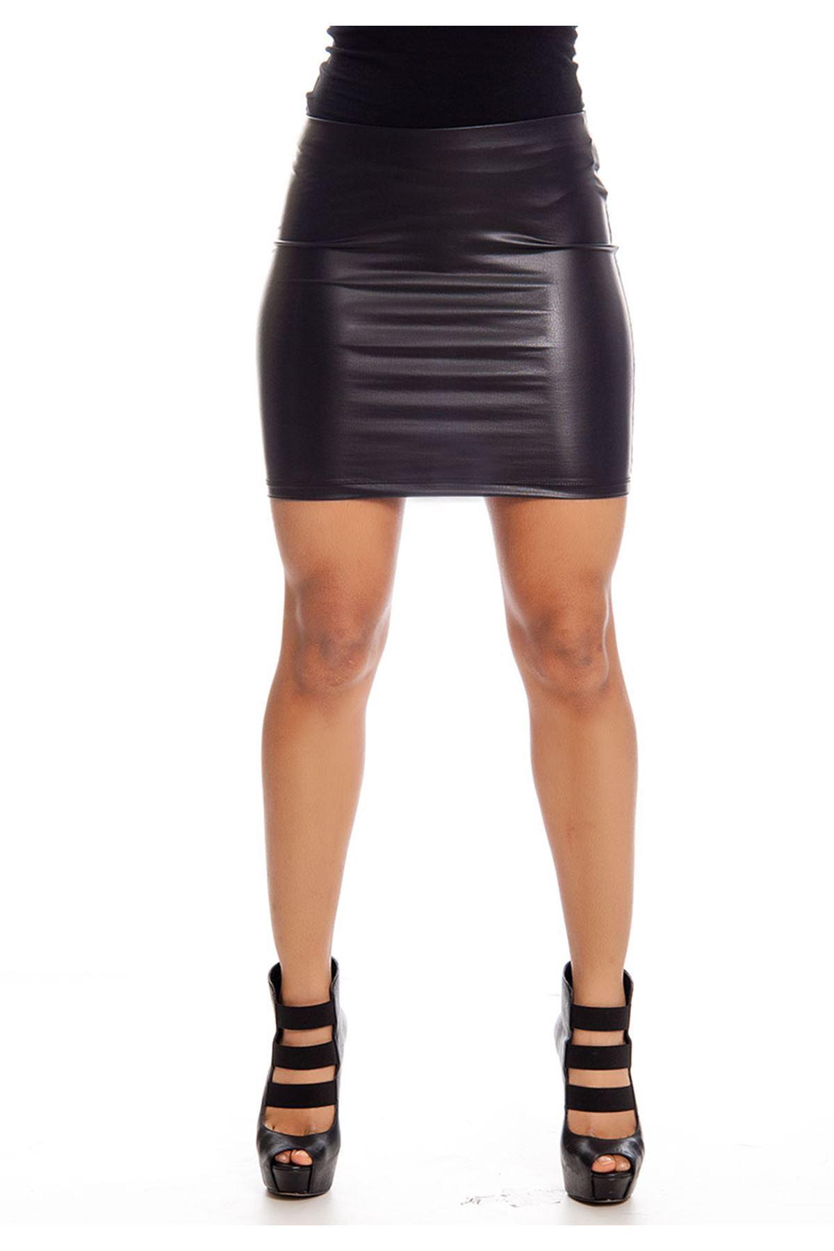 Siyah Deri Mini Etek 15B-129370