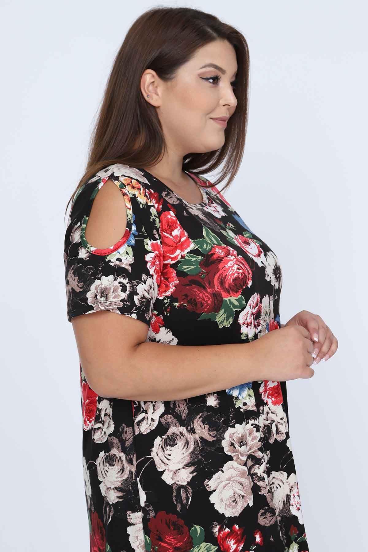 Siyah Çiçek Desenli Viskon Elbise 11A-0683