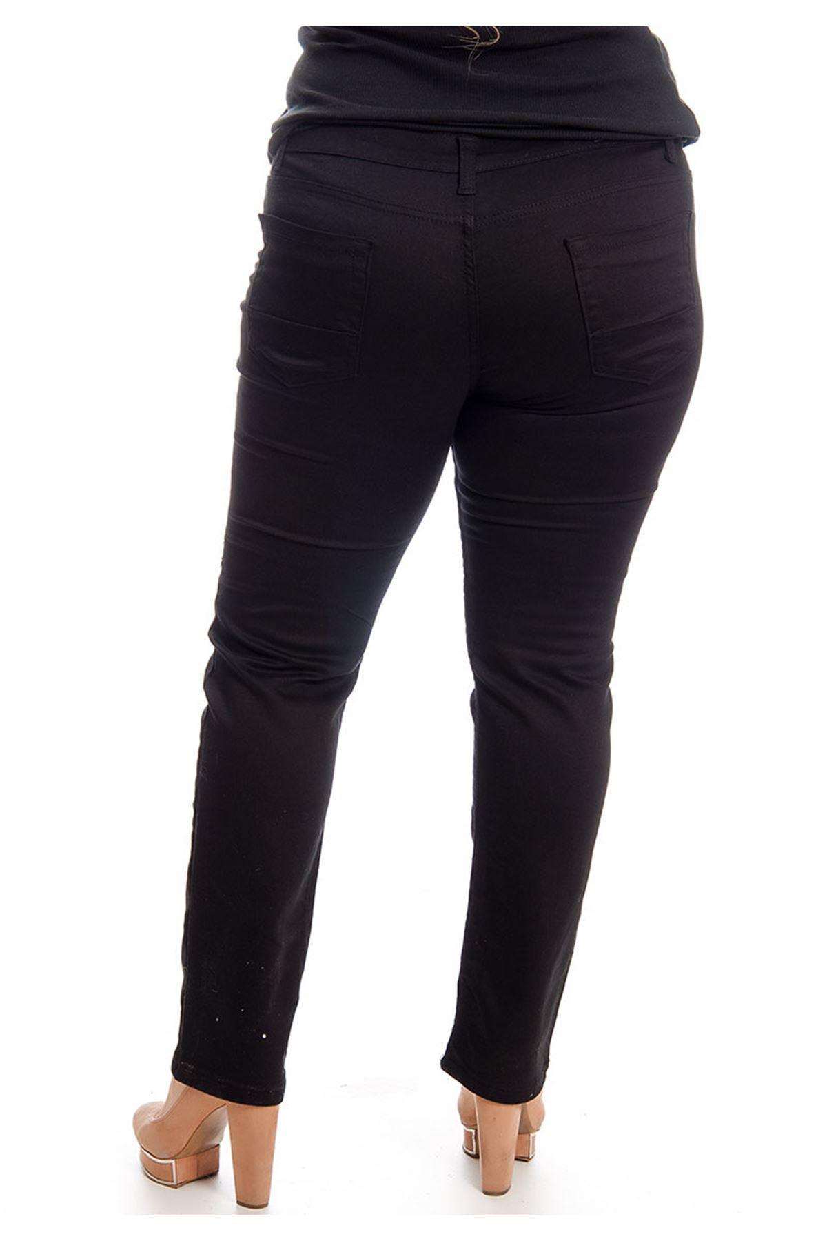Siyah Boru Paça Kadın Pantolon 4A-127048