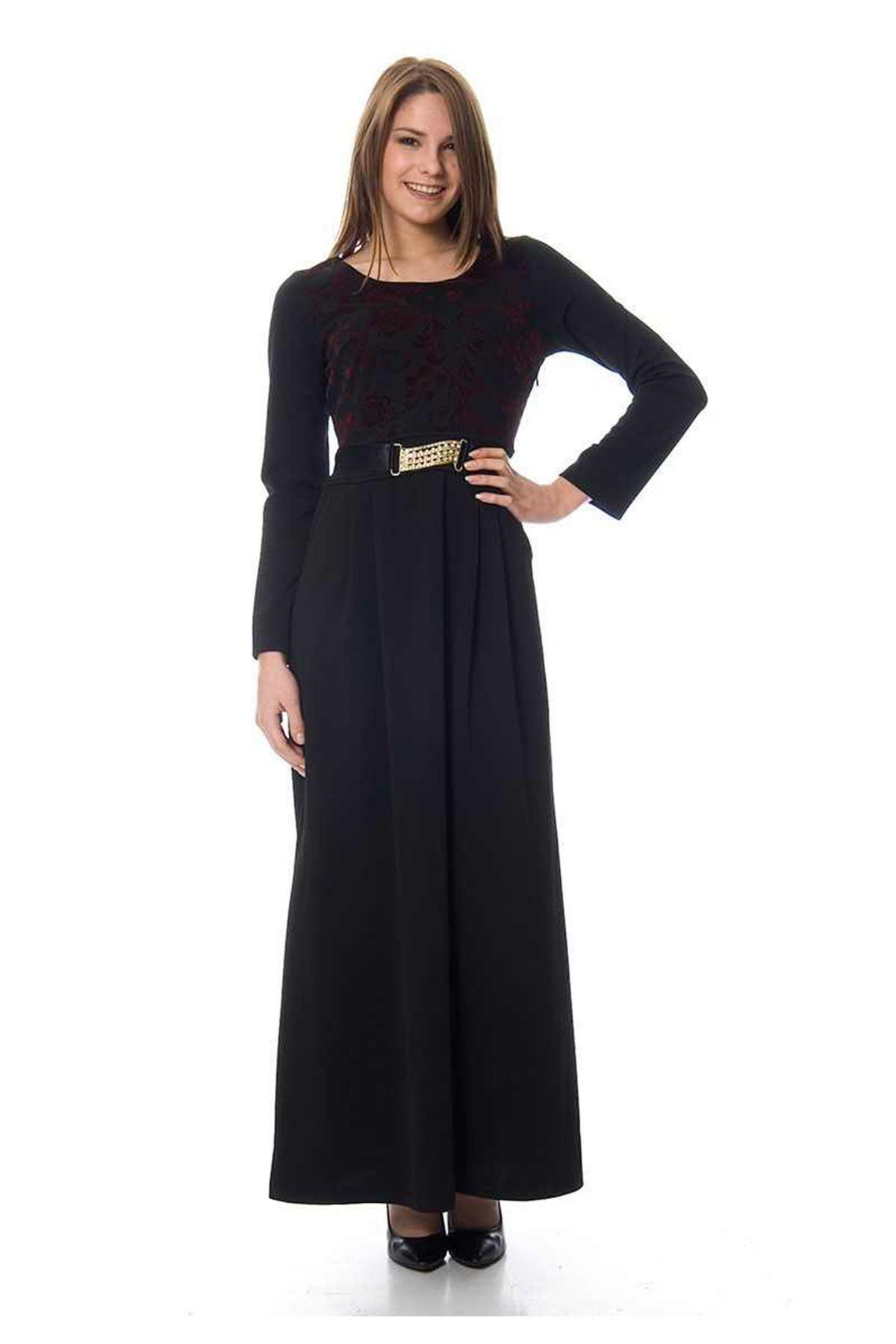 Siyah Flok Baskılı Elbise G1-68001