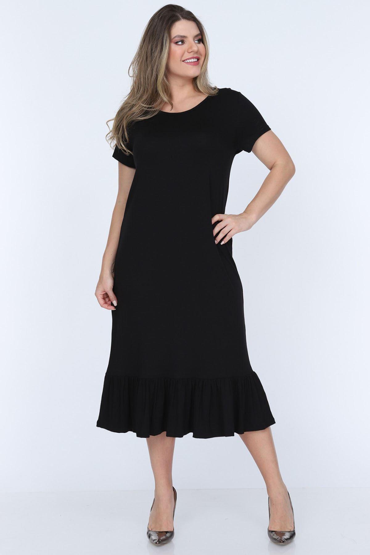 Siyah Fırfırlı Büyük Beden Elbise 11B-0703