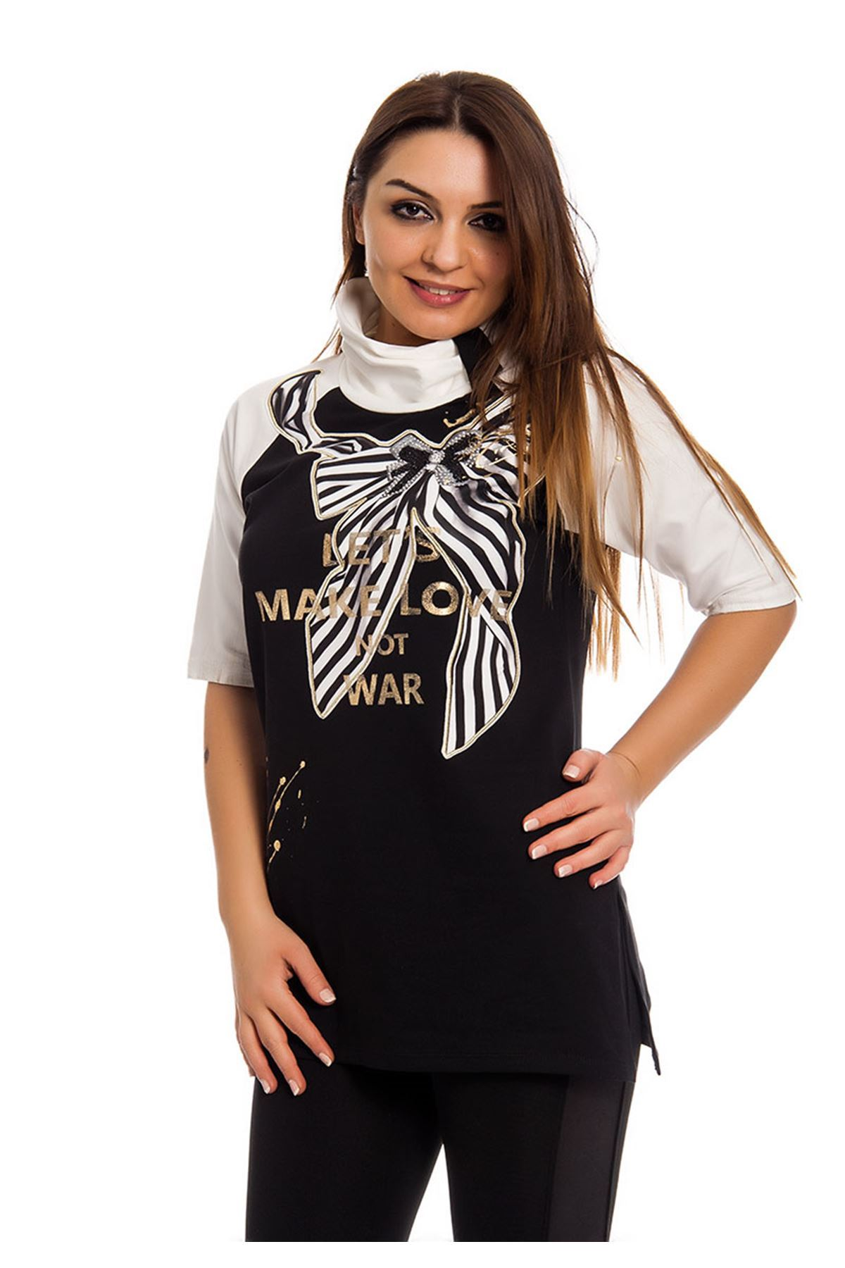 Siyah Gold Baskılı Yaka Detaylı Kadın Bluz I10-124398