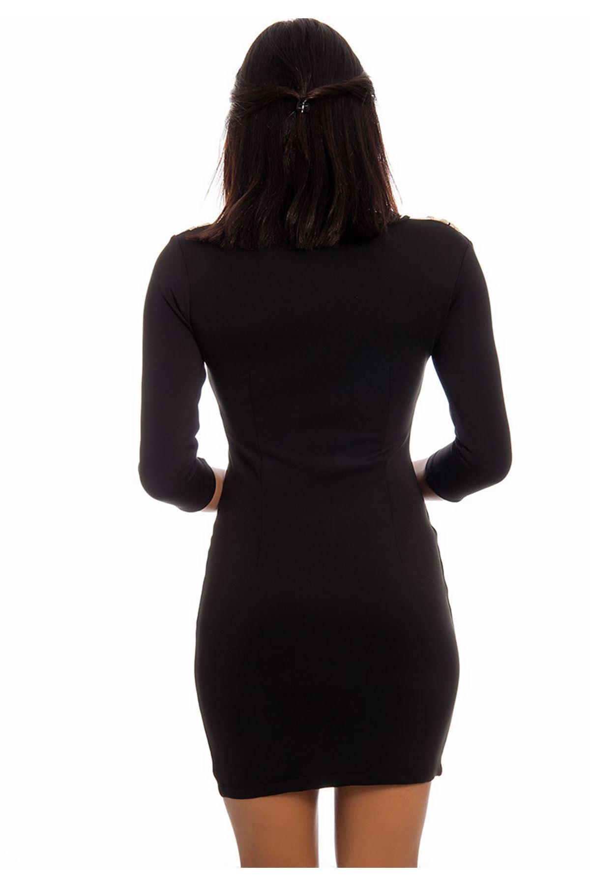Siyah Gold-Taş Detaylı Kadın Elbise F6-125838