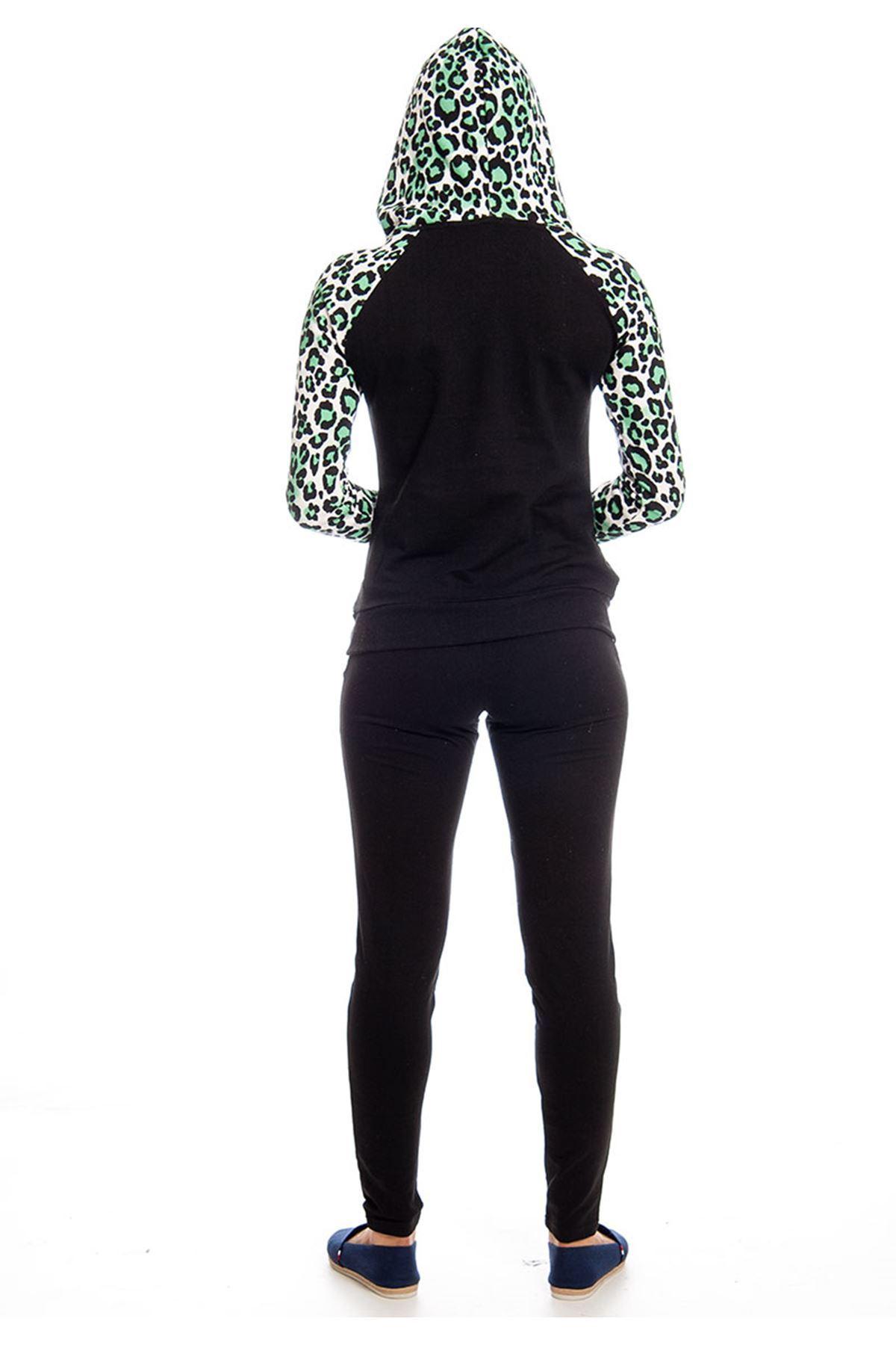 Siyah Desenli Kapşonlu Eşofman Takımı 14E-129520