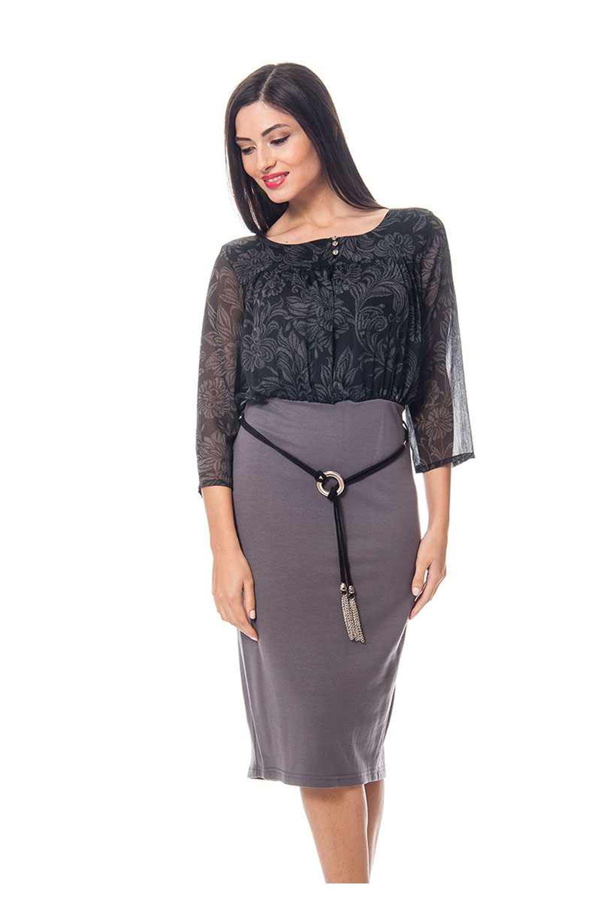 Siyah Gri Kadın Elbise  G6-118384