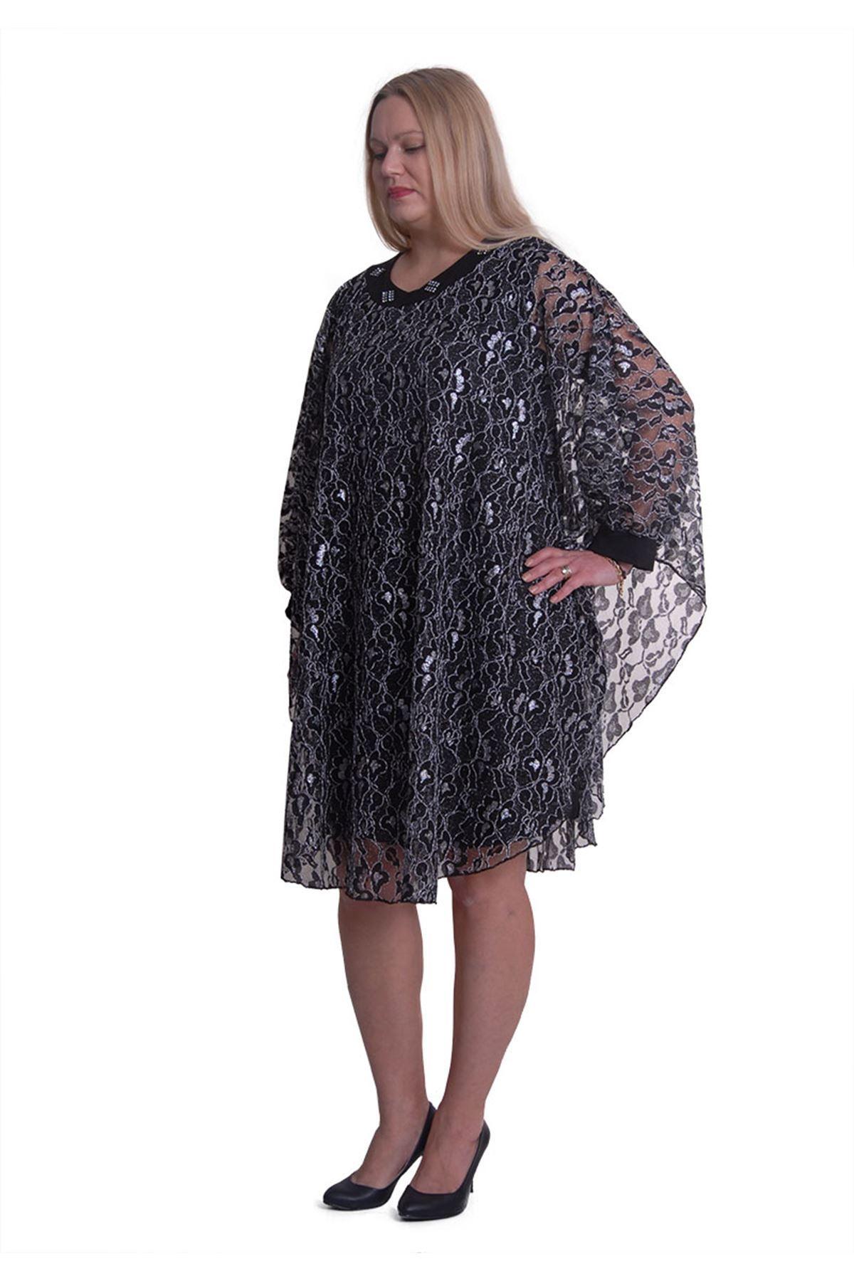 Siyah Gümüş Abiye Elbise H3-0417