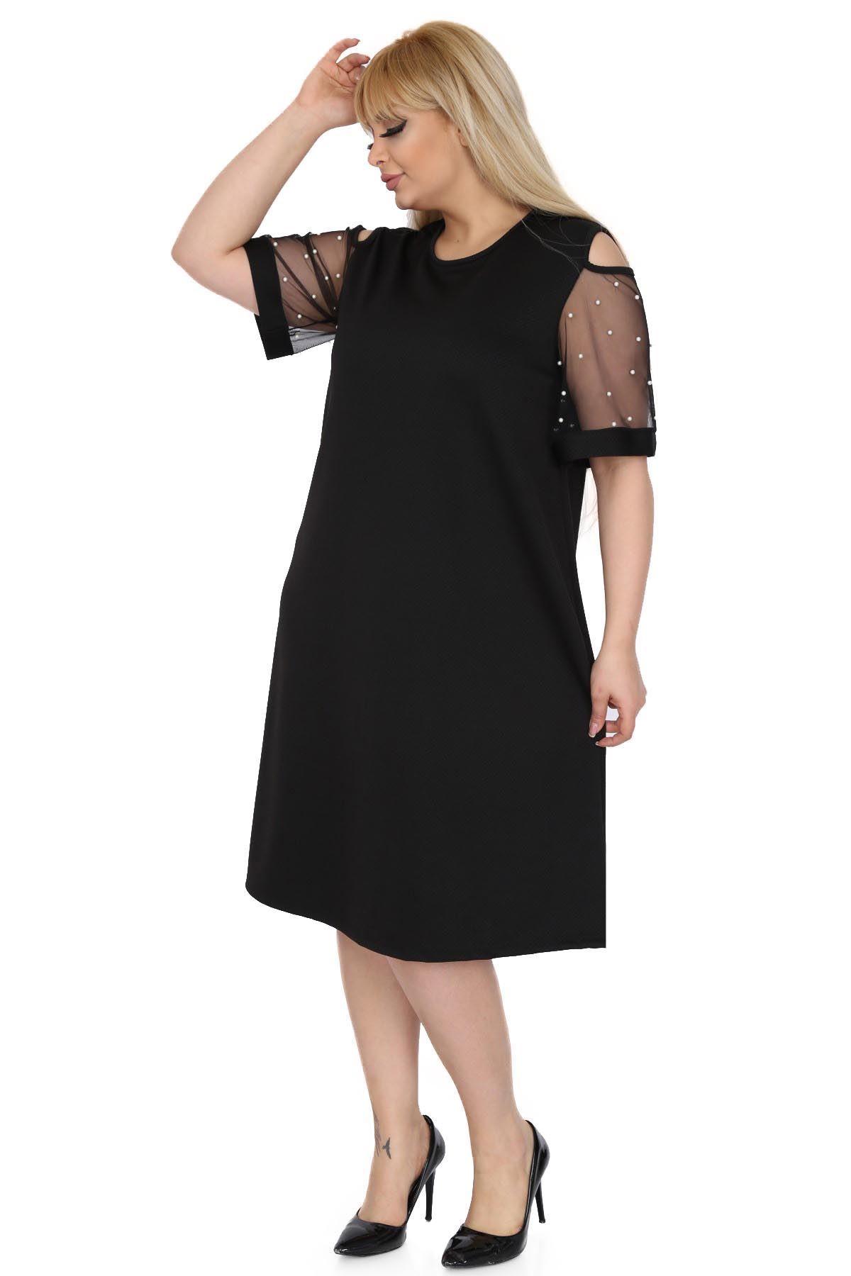 Siyah Kol İncili Büyük Beden Elbise 9C-0515
