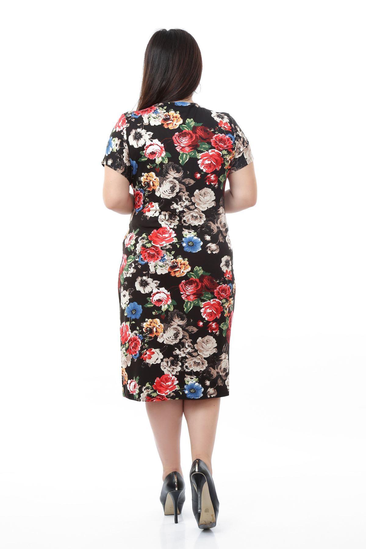 Siyah Kruvaze Büyük Beden Elbise 21E-0664