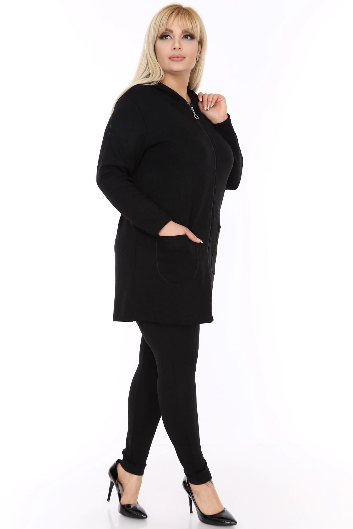 Siyah Büyük Beden Sweatshirt 2F-0428