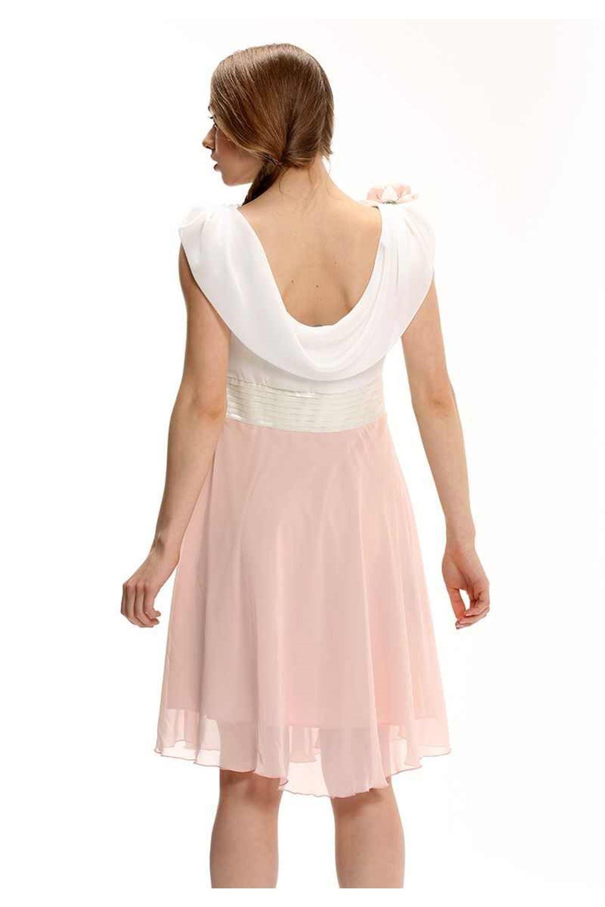 Somon-Ekru Taş Detaylı Elbise F10-0066