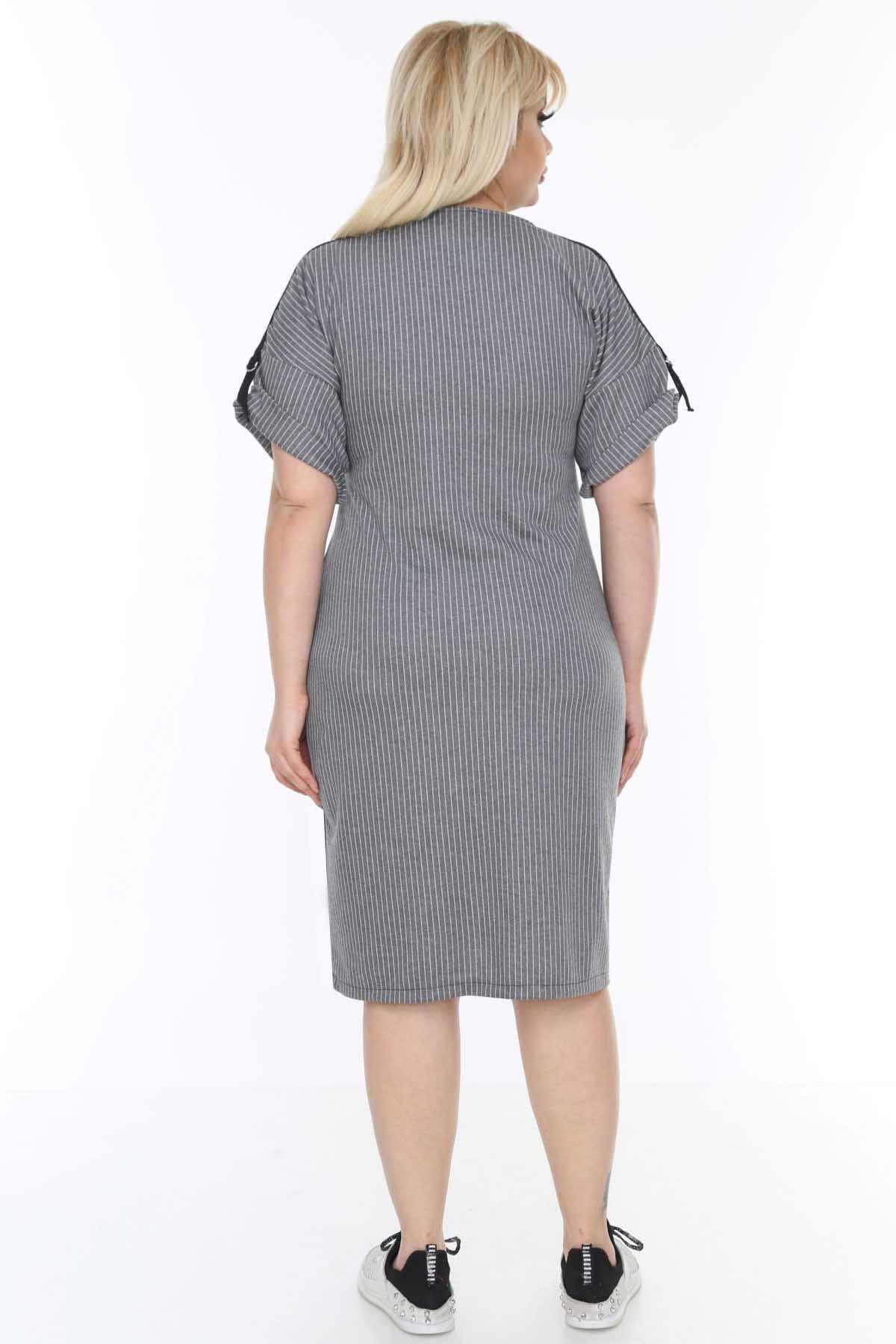 Şeritli Gri Elbise 6D-0491
