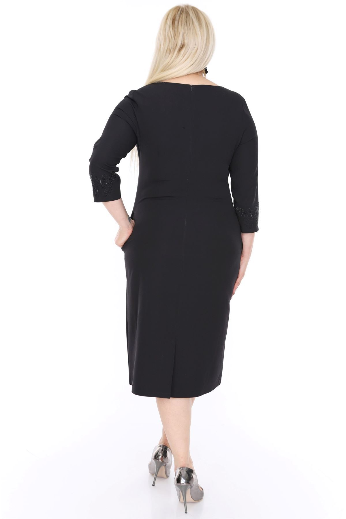 Taşlı Cepli Siyah Elbise H3-0453