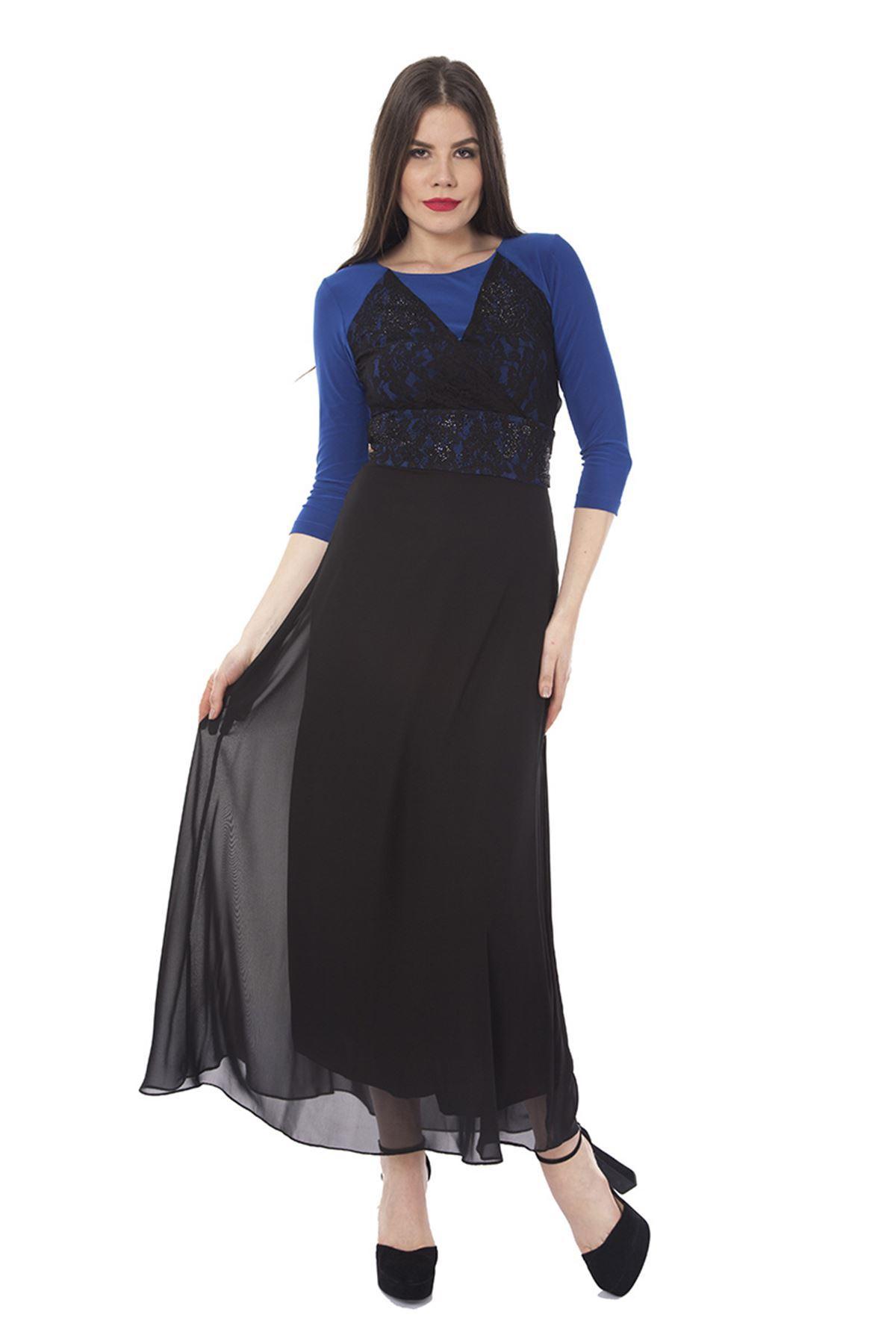 Taşlı Kemerli Elbise F7-0700