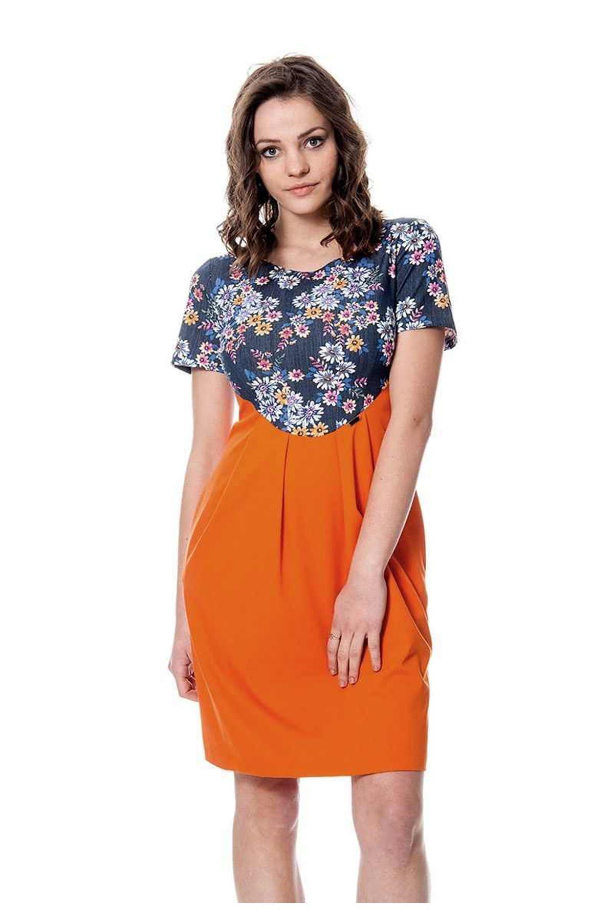 Turuncu Çiçekli Elbise F3-106641