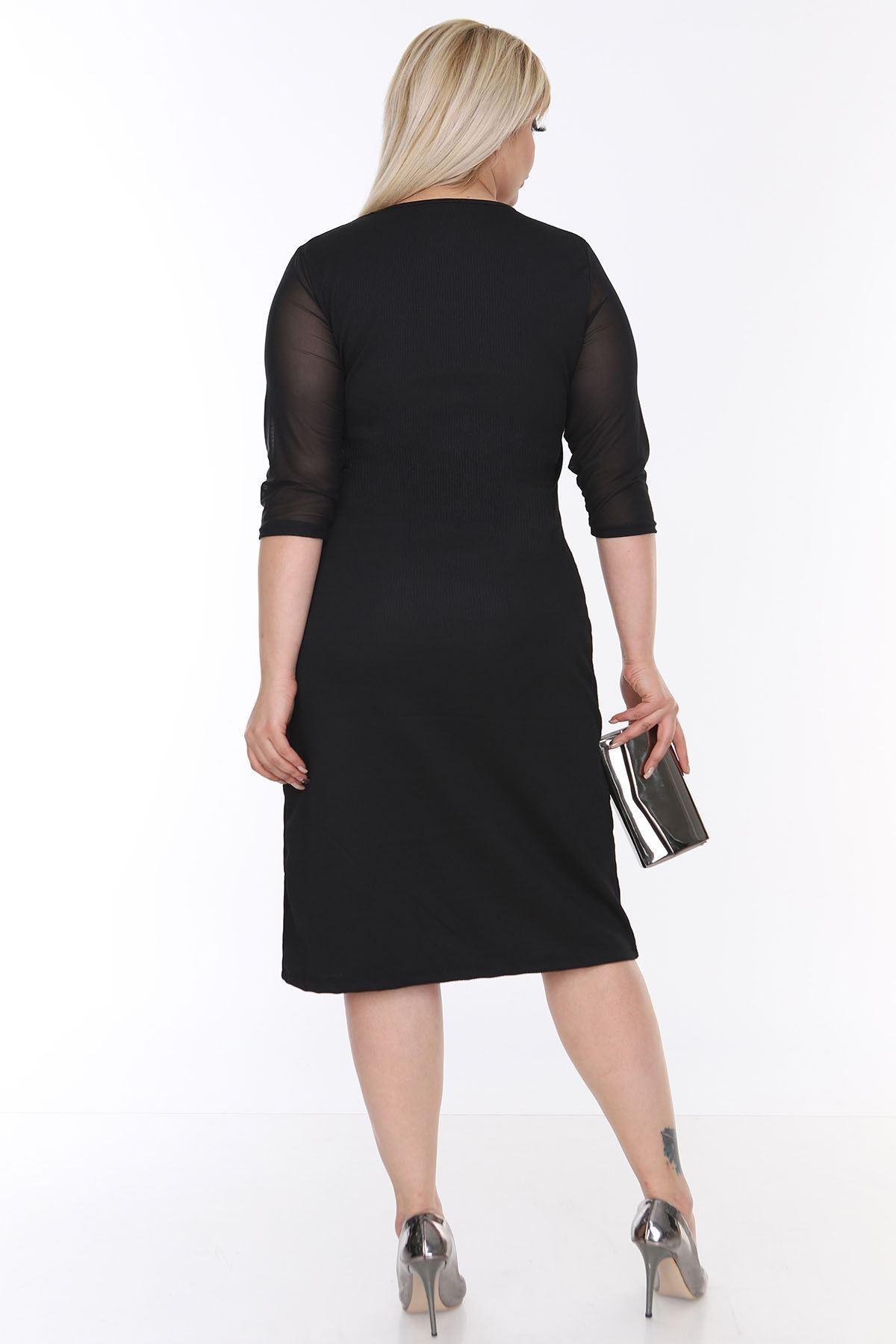 Tül Kol Siyah Büyük Beden Elbise 3B-0207