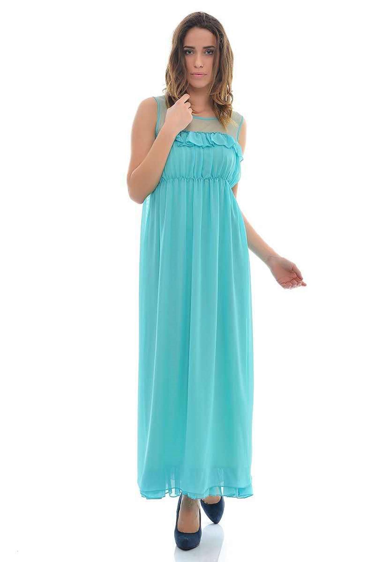 Turkuaz Tül Detaylı Fırfırlı  Elbise K2-112064