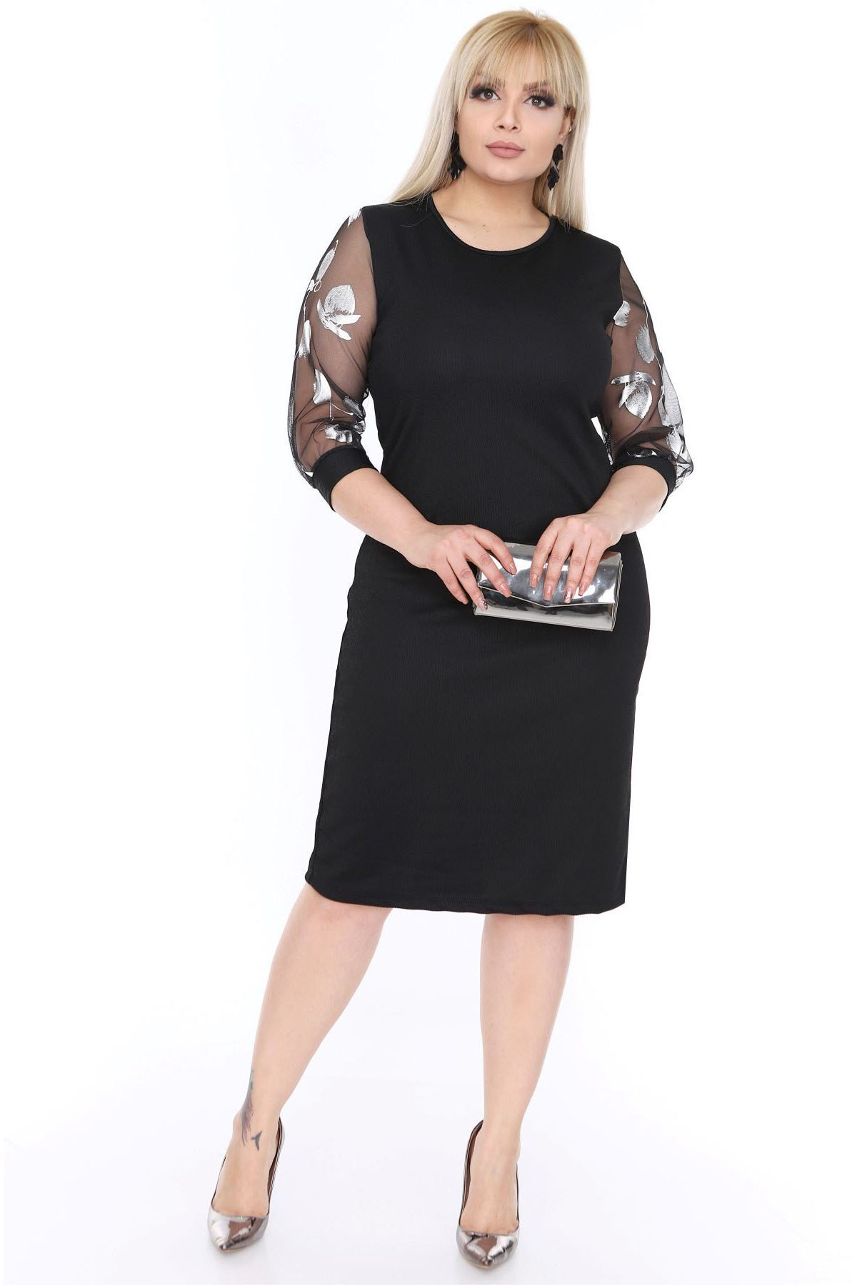 Tül Kol Gümüş Siyah Büyük Beden Elbise 16C-0455