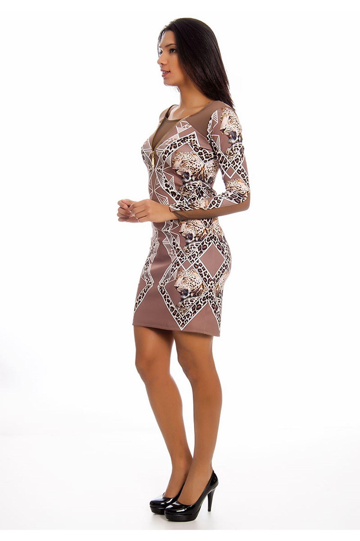 Vizon Leopar Desenli Dekolte Kadın Elbise F6-125774