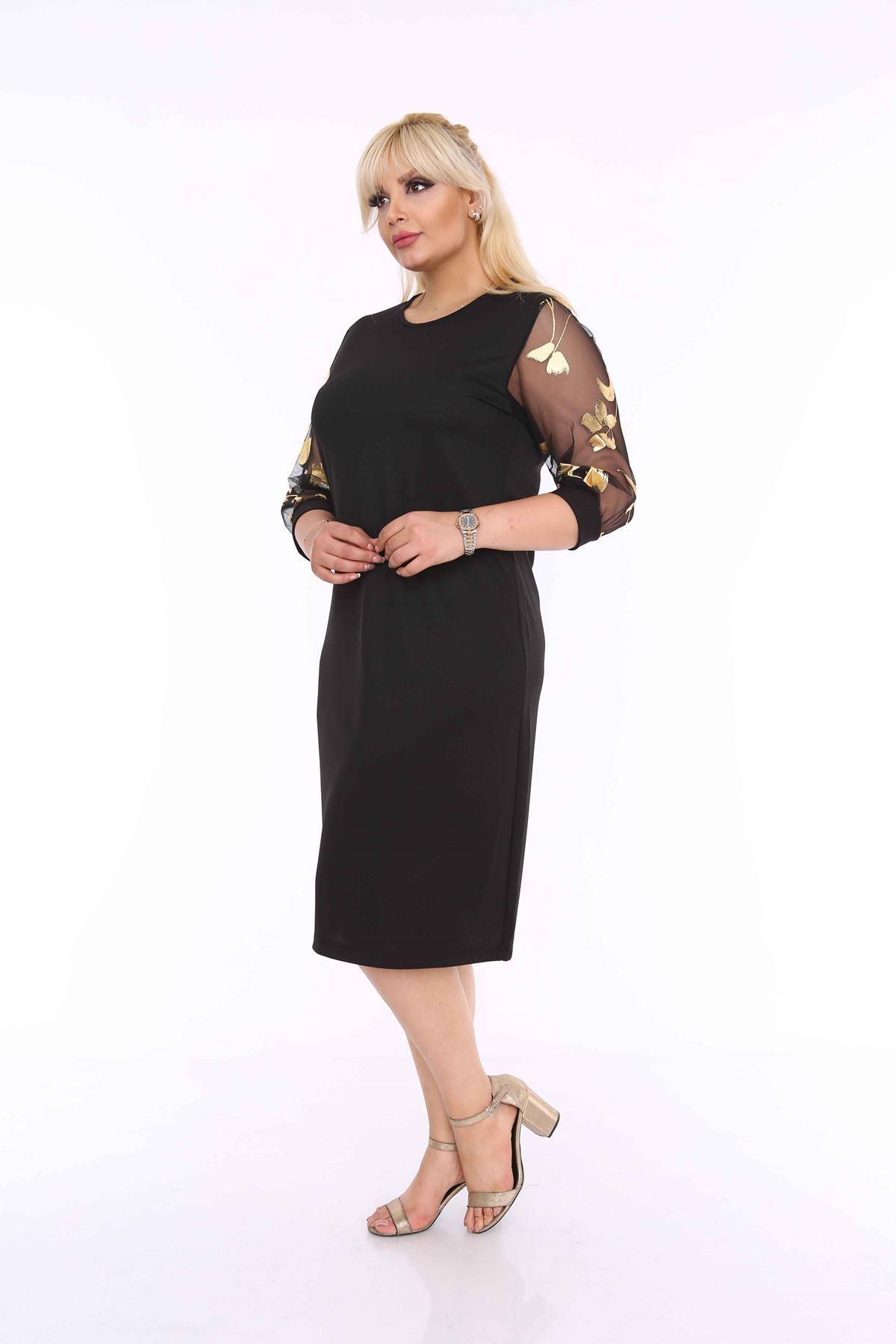 Varaklı Siyah Büyük Beden Elbise 4E-69955