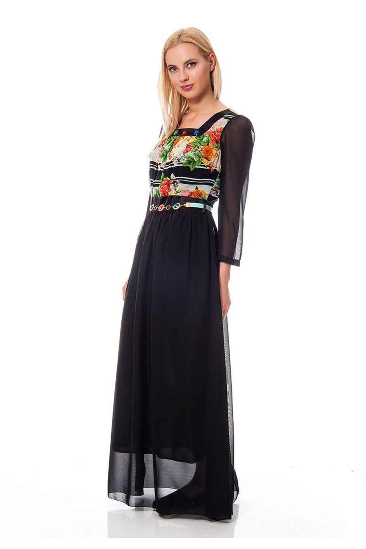 Yaka Taşlı Siyah  Şifon Yazlık Uzun Elbise G8-116772