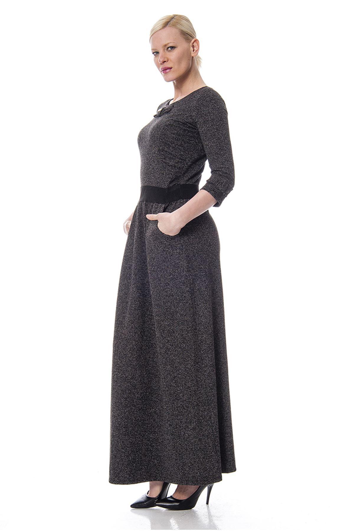 Yaka Detaylı Elbise f1-113203
