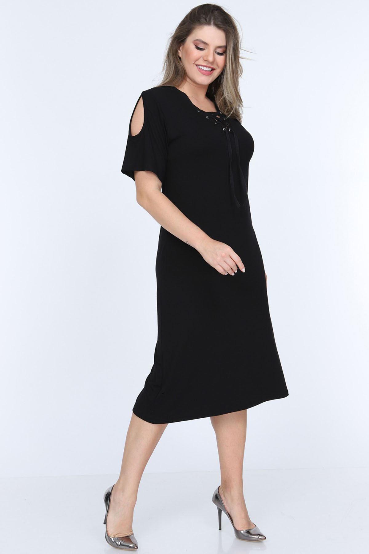 Yaka Bağcıklı Viskon Elbise 18B-0686