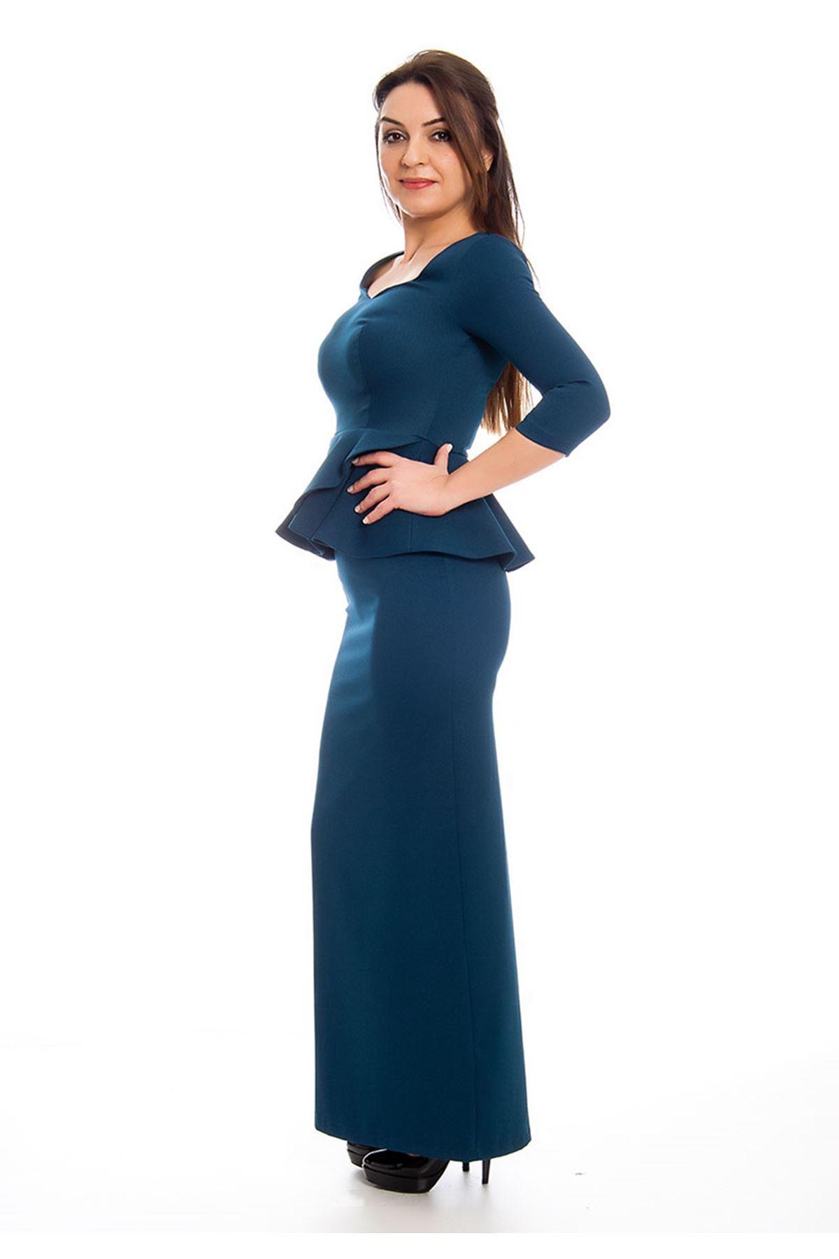 Volanlı Uzun Petrol Elbise H1-124229