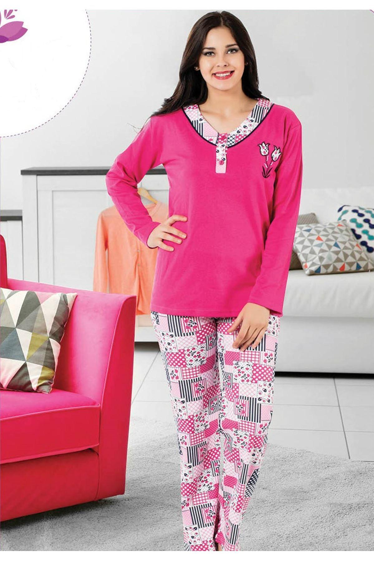 Yaka Düğmeli Pijama 14C-1019