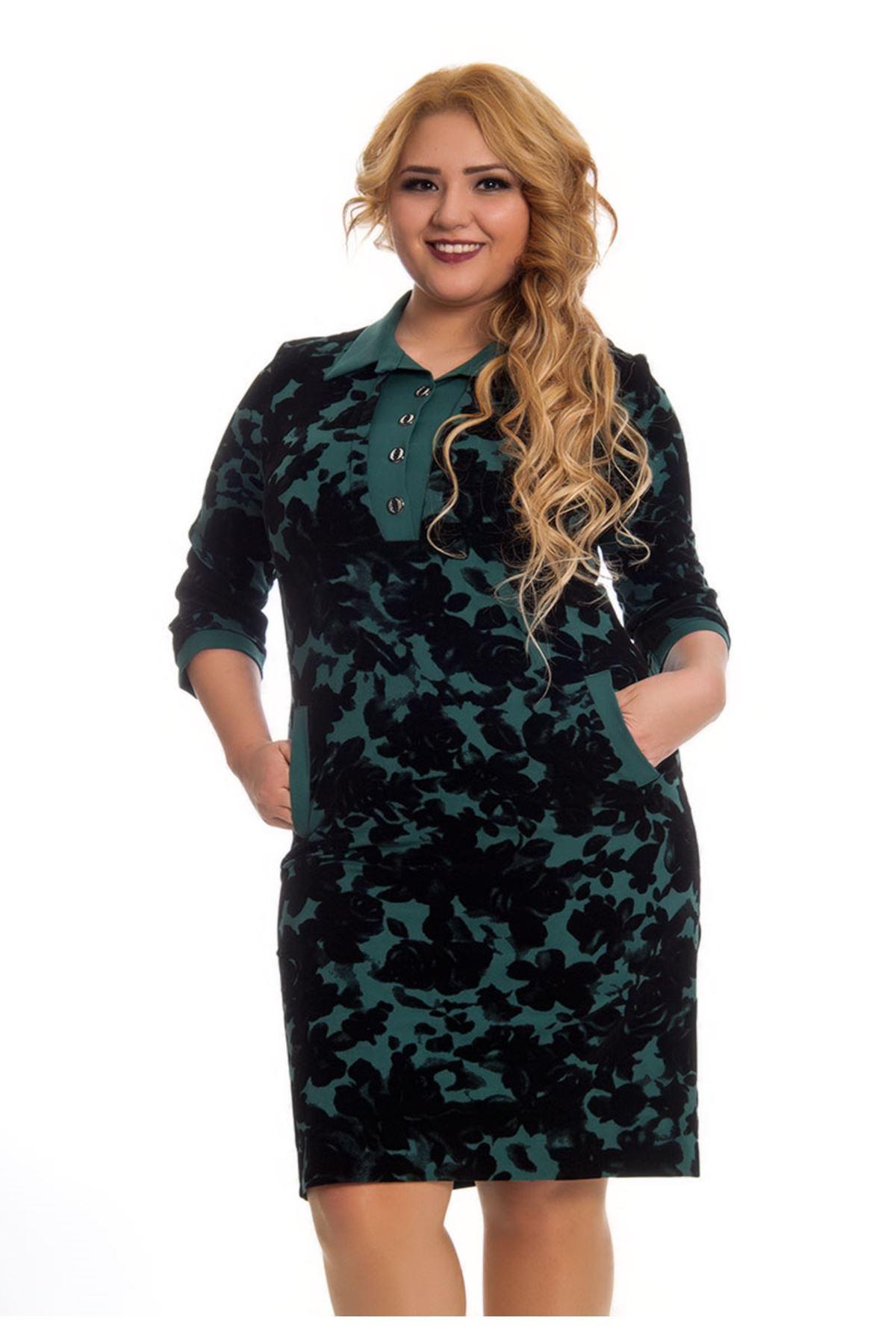 Yeşil Çiçek Desenli Kadın Elbise F11-123002