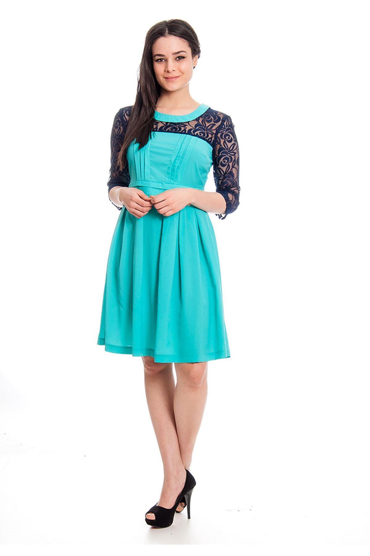 Yeşil Dantel Detaylı Kadın Elbise H12-129965