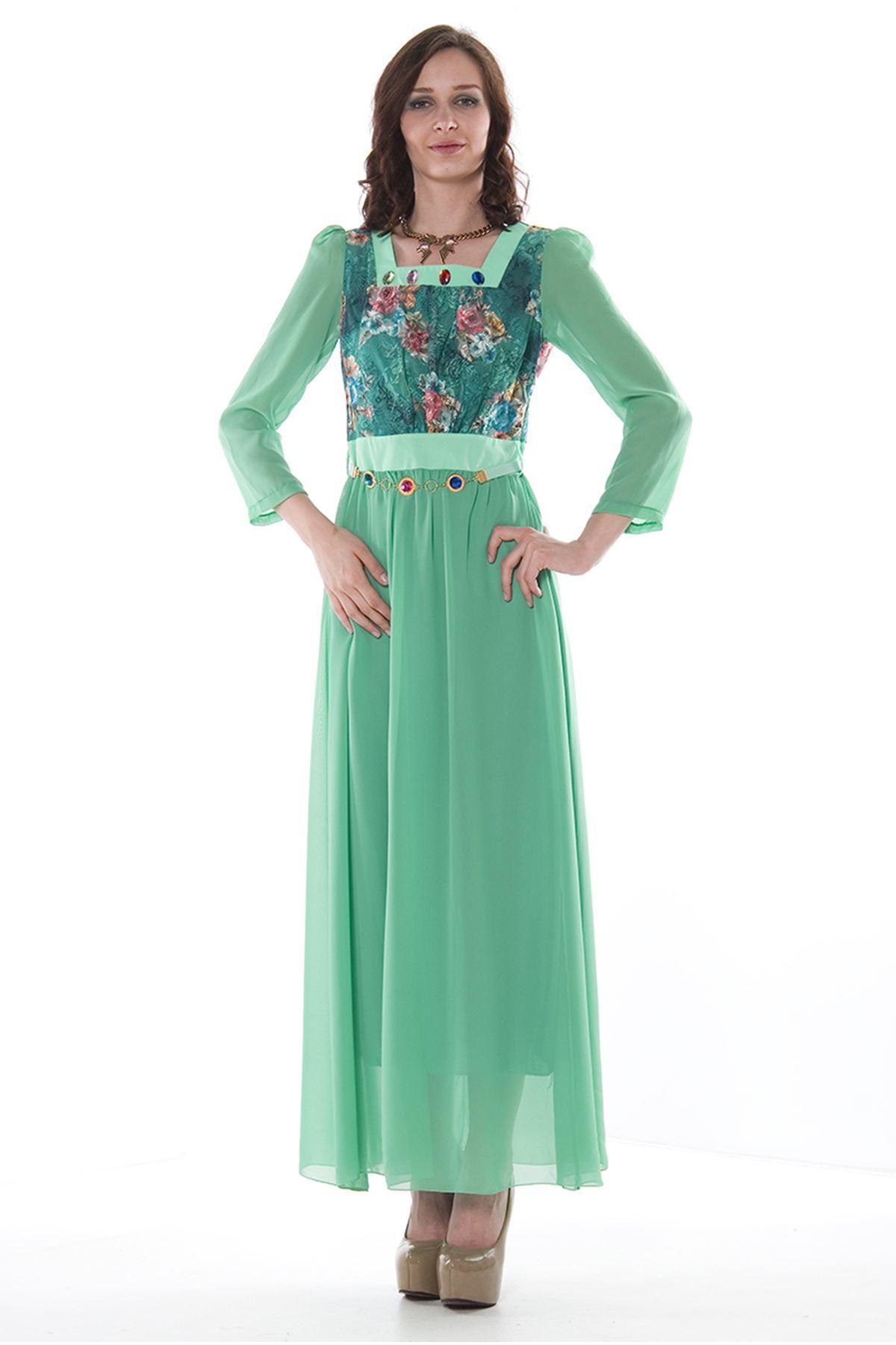 Yeşil Desenli Elbise H1-75736