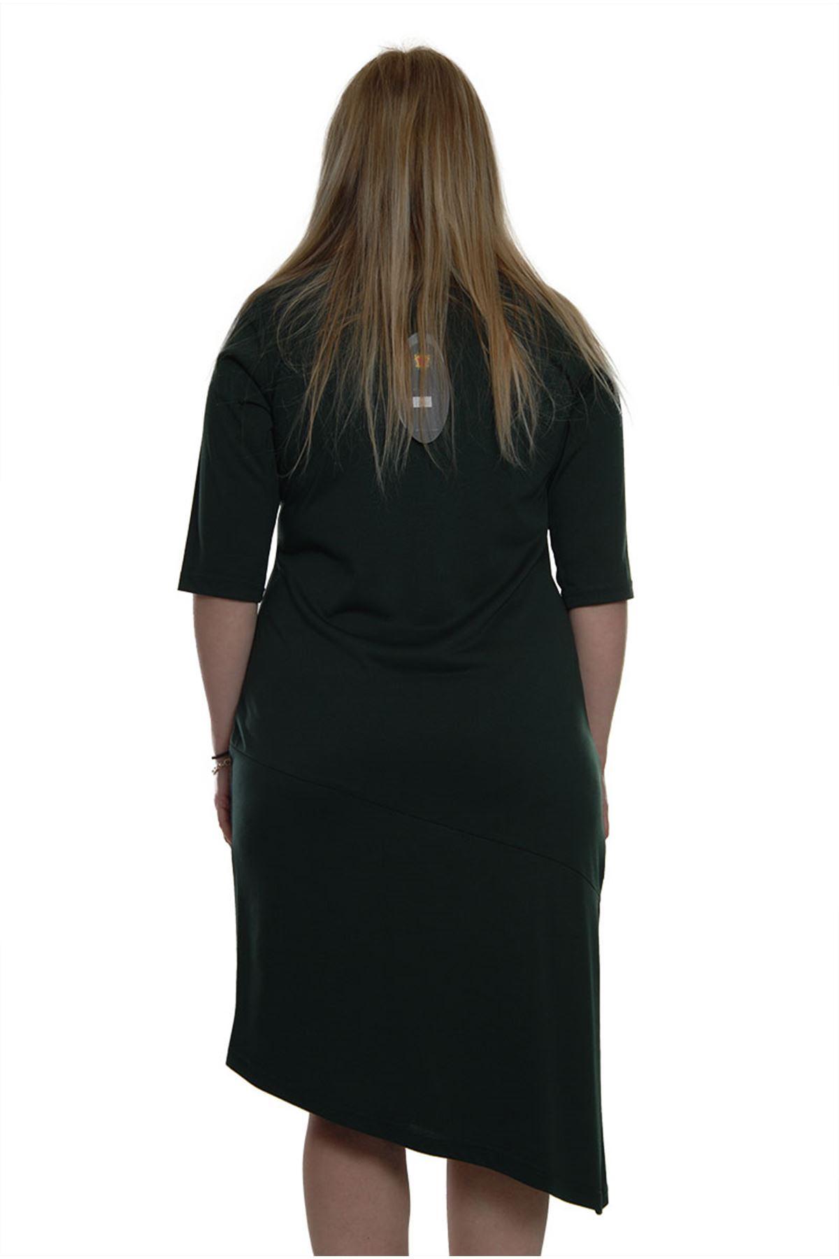 Yeşil Kelebek Baskılı Elbise H3-69383