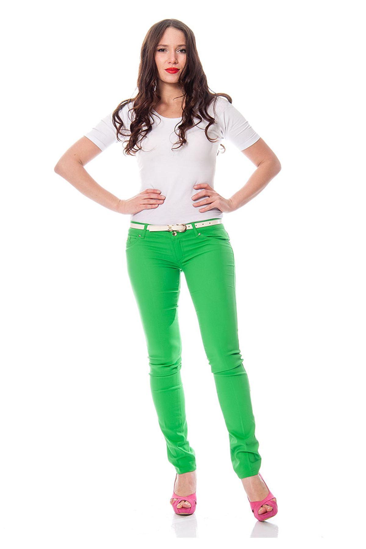 Yeşil Lycralı Pantolon 1A-110829