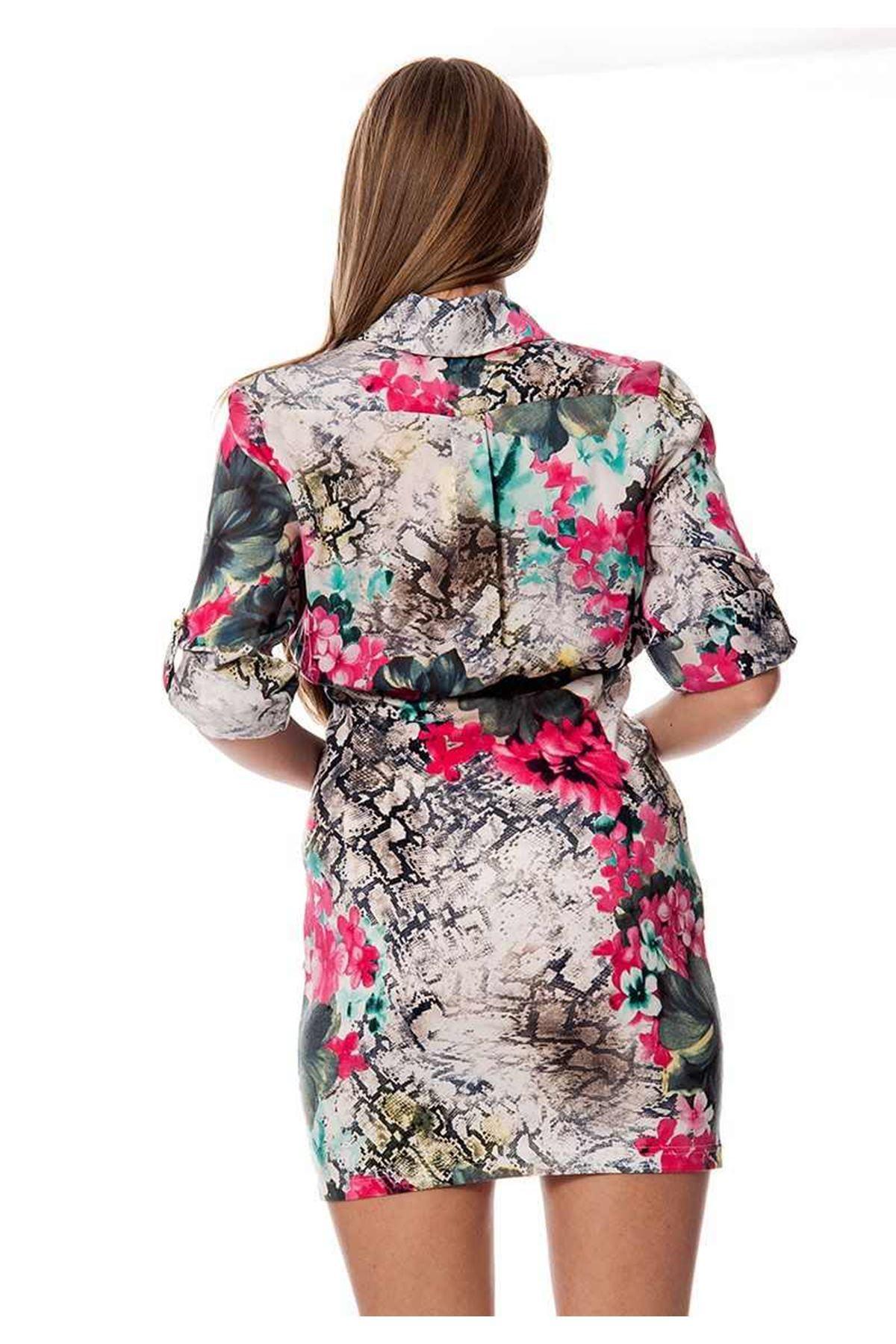 Yılan Deri Desenli Elbise G4-109954