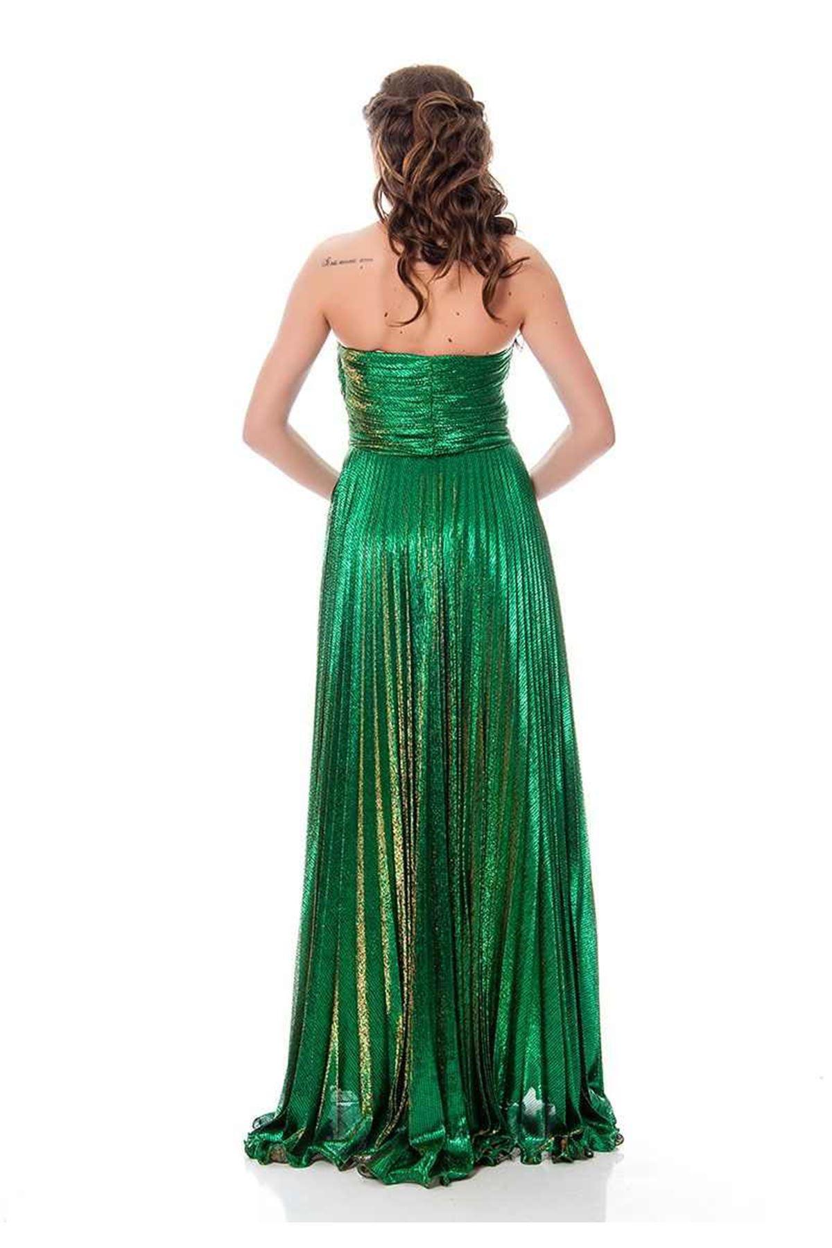 Yeşil Yanar Döner Kumaş Taş Detaylı Elbise J9-115083