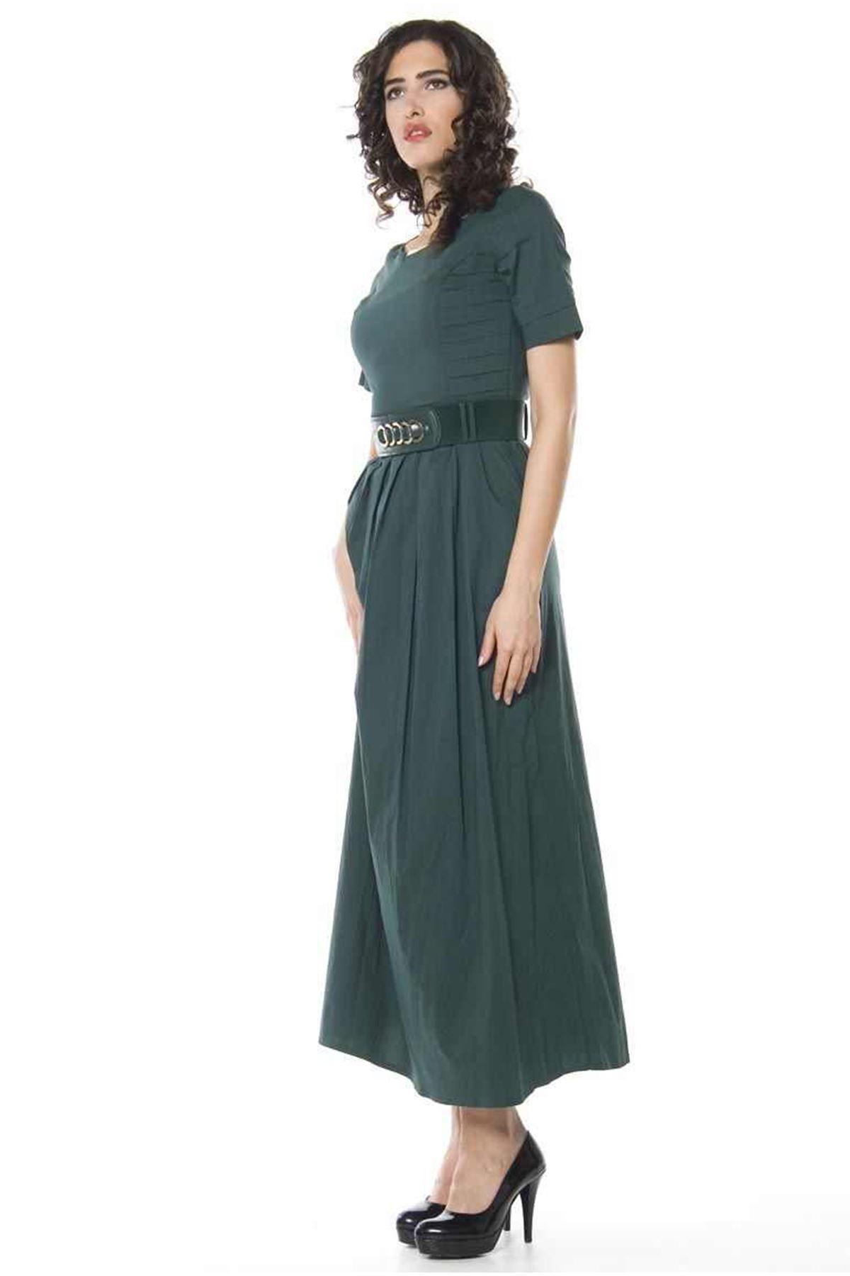 Yeşil Uzun Elbise H1-66053