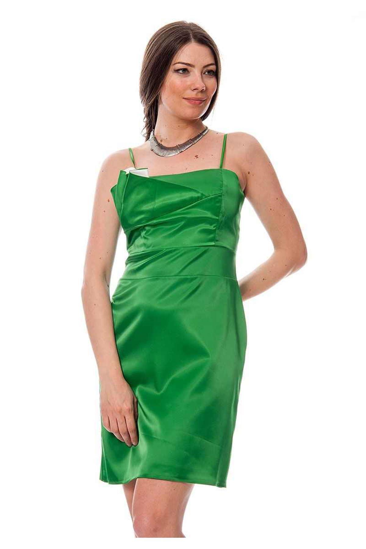 Yeşil Saten Abiye K8-116148