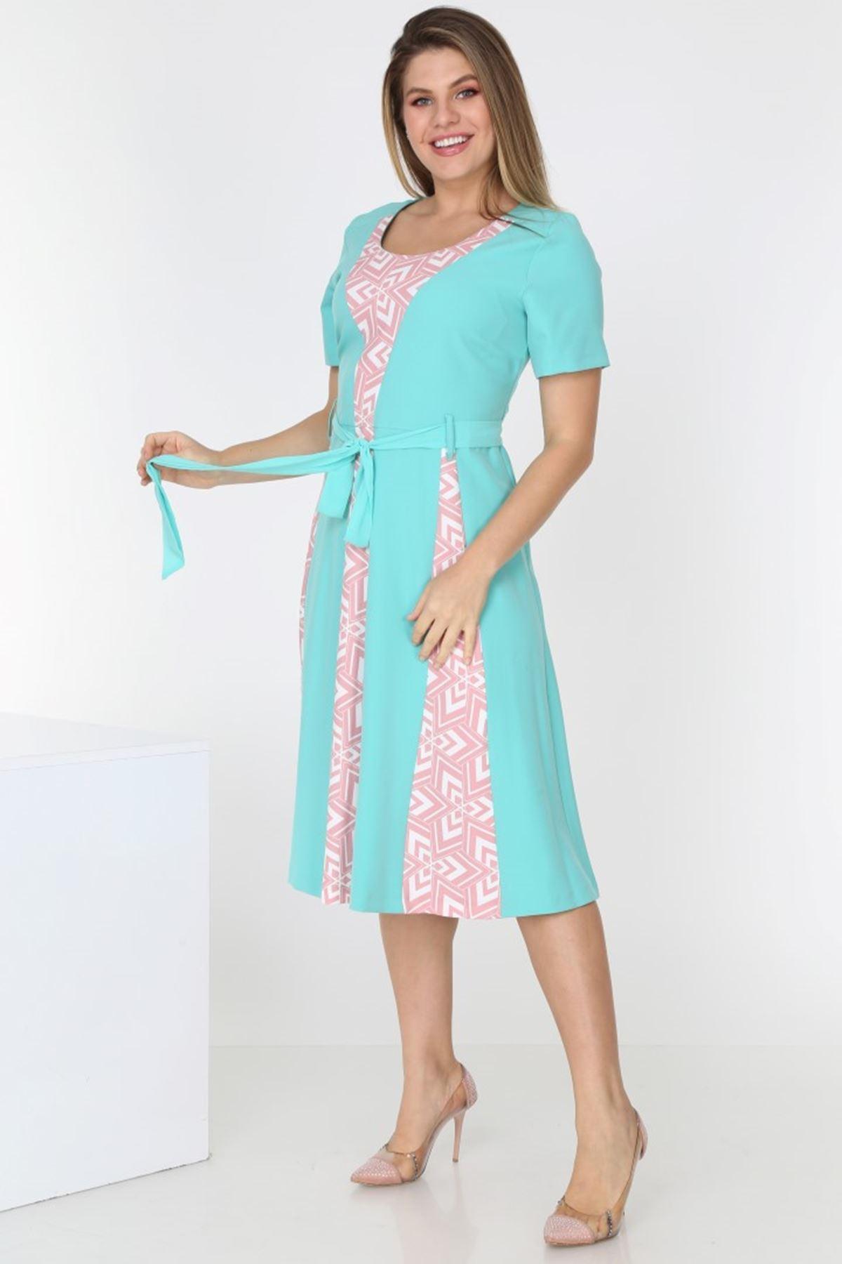 Yeşil Yazlık Elbise H3-0546
