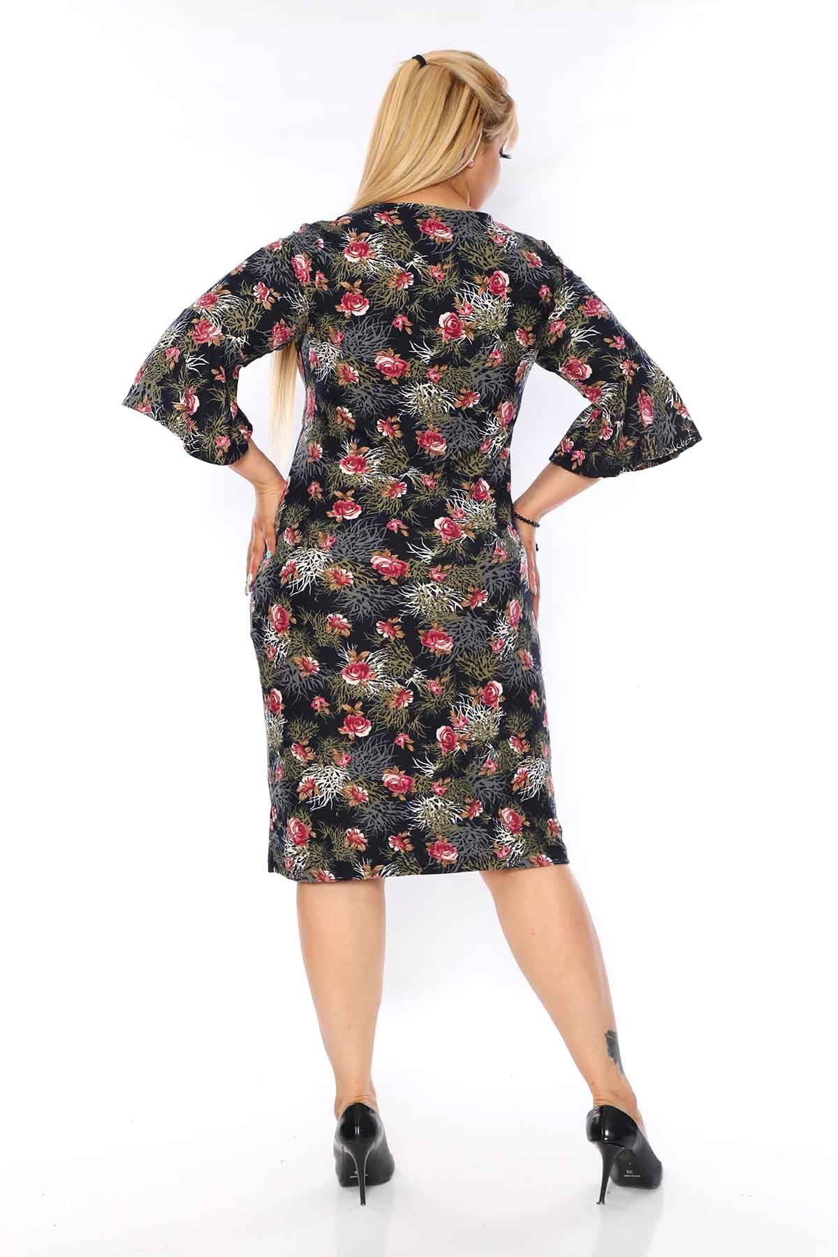 Kruvaze Yaka Çiçekli Büyük Beden Elbise 21C-0738