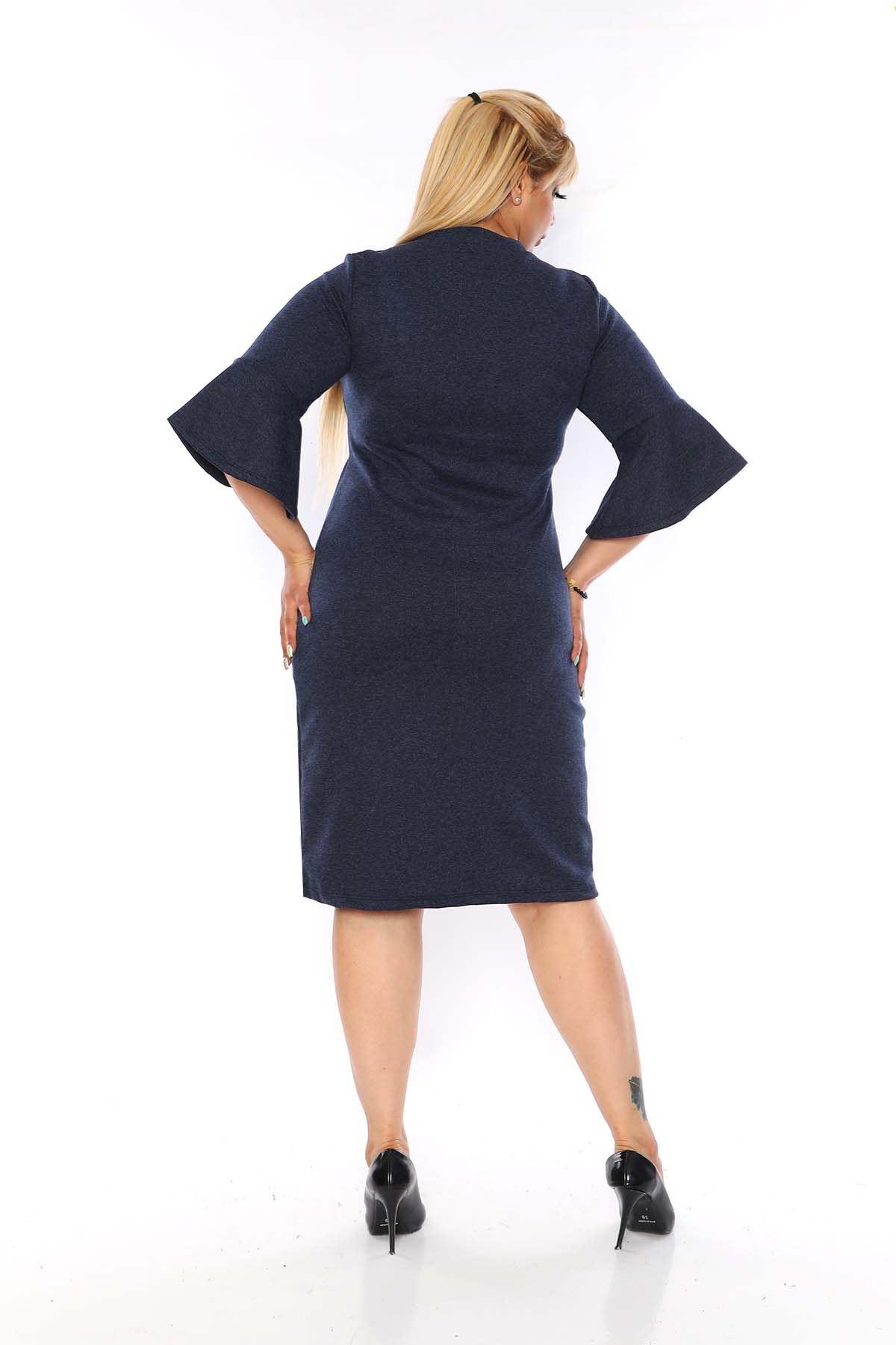 Kruvaze Yaka Lacivert Büyük Beden Elbise 8C-0753