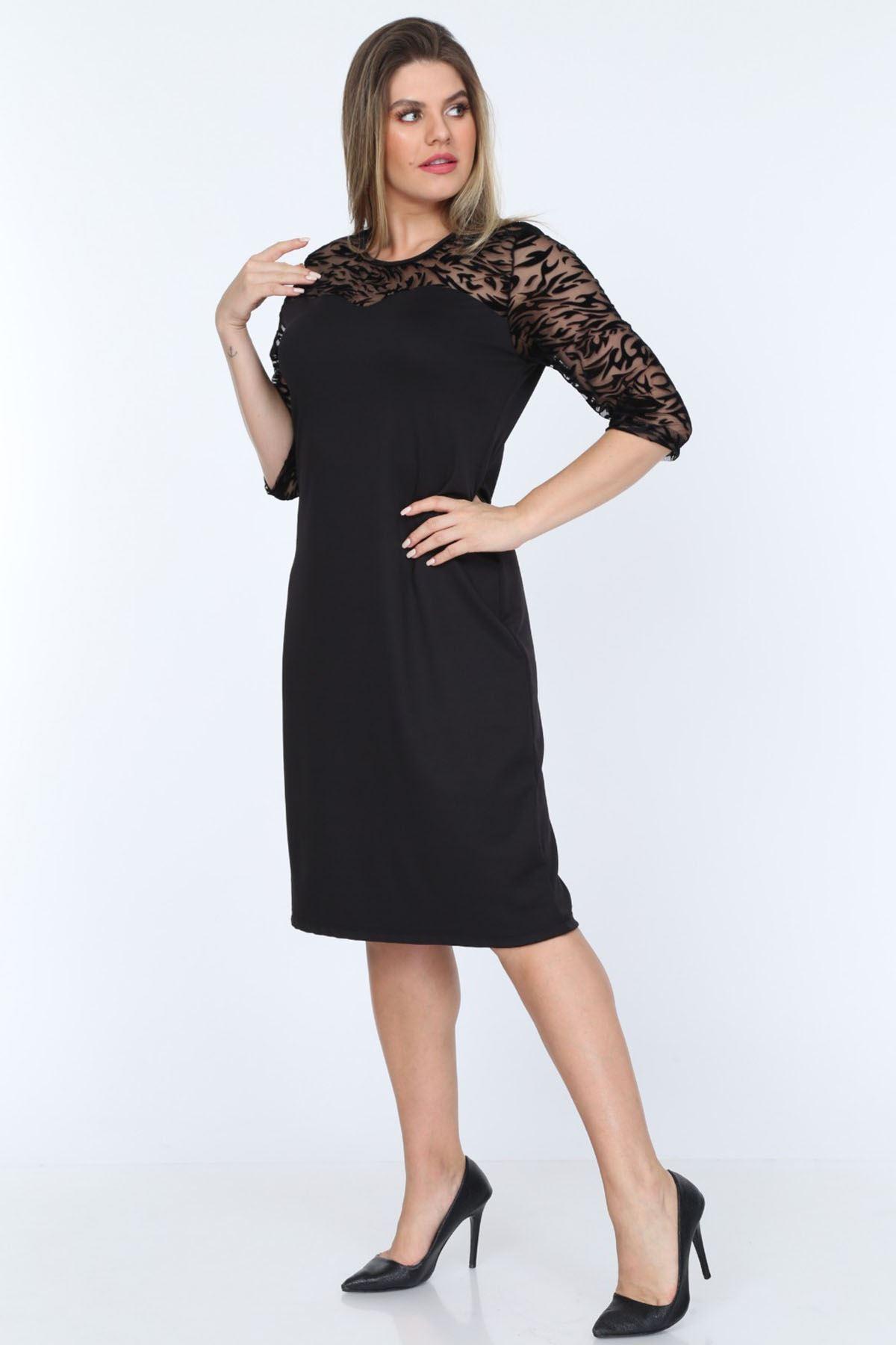 Zebra Desen Dantelli Büyük Beden Elbise 13D-0776