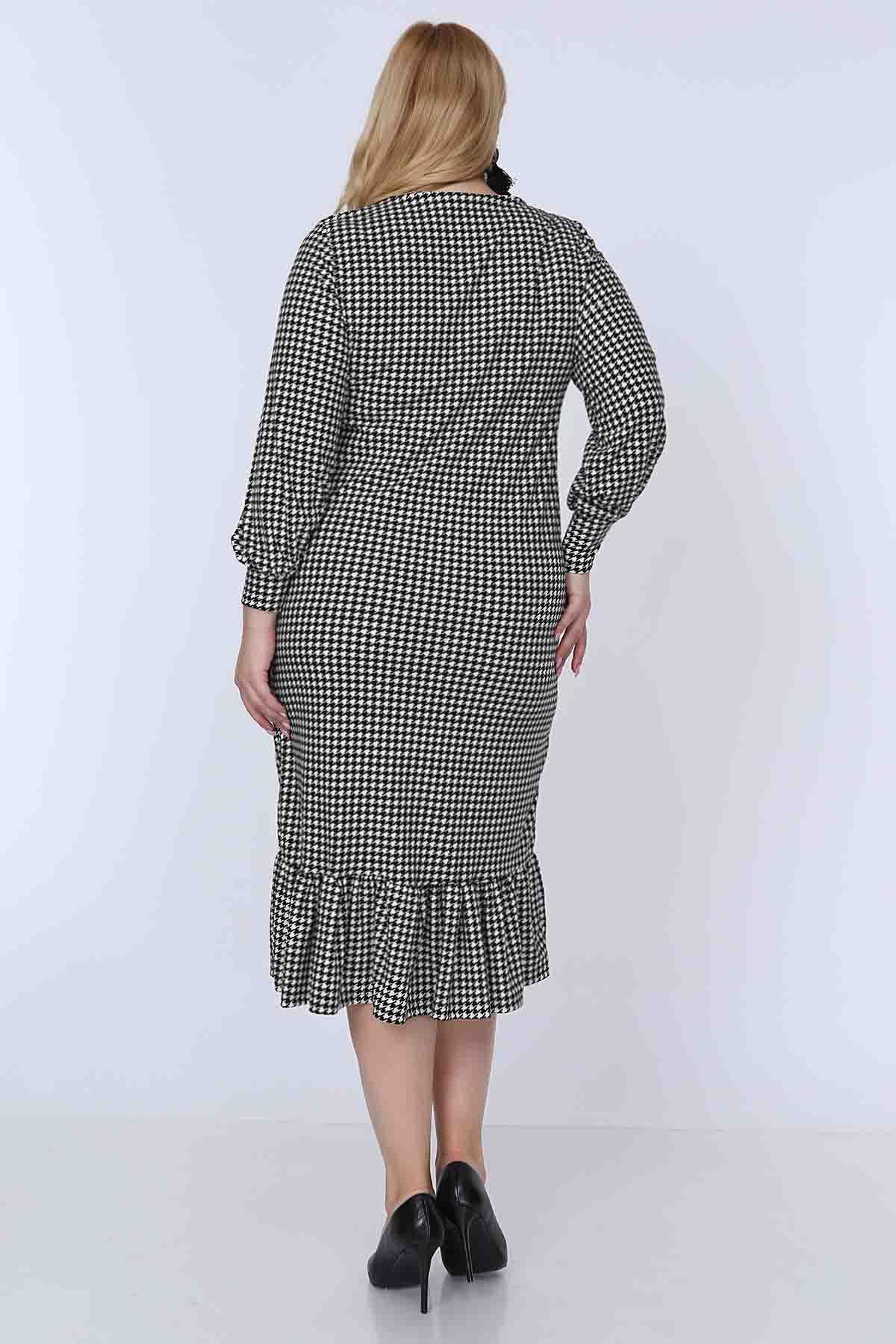 Kazayağı Etek Fırfırlı Büyük Beden Elbise 7F-0779