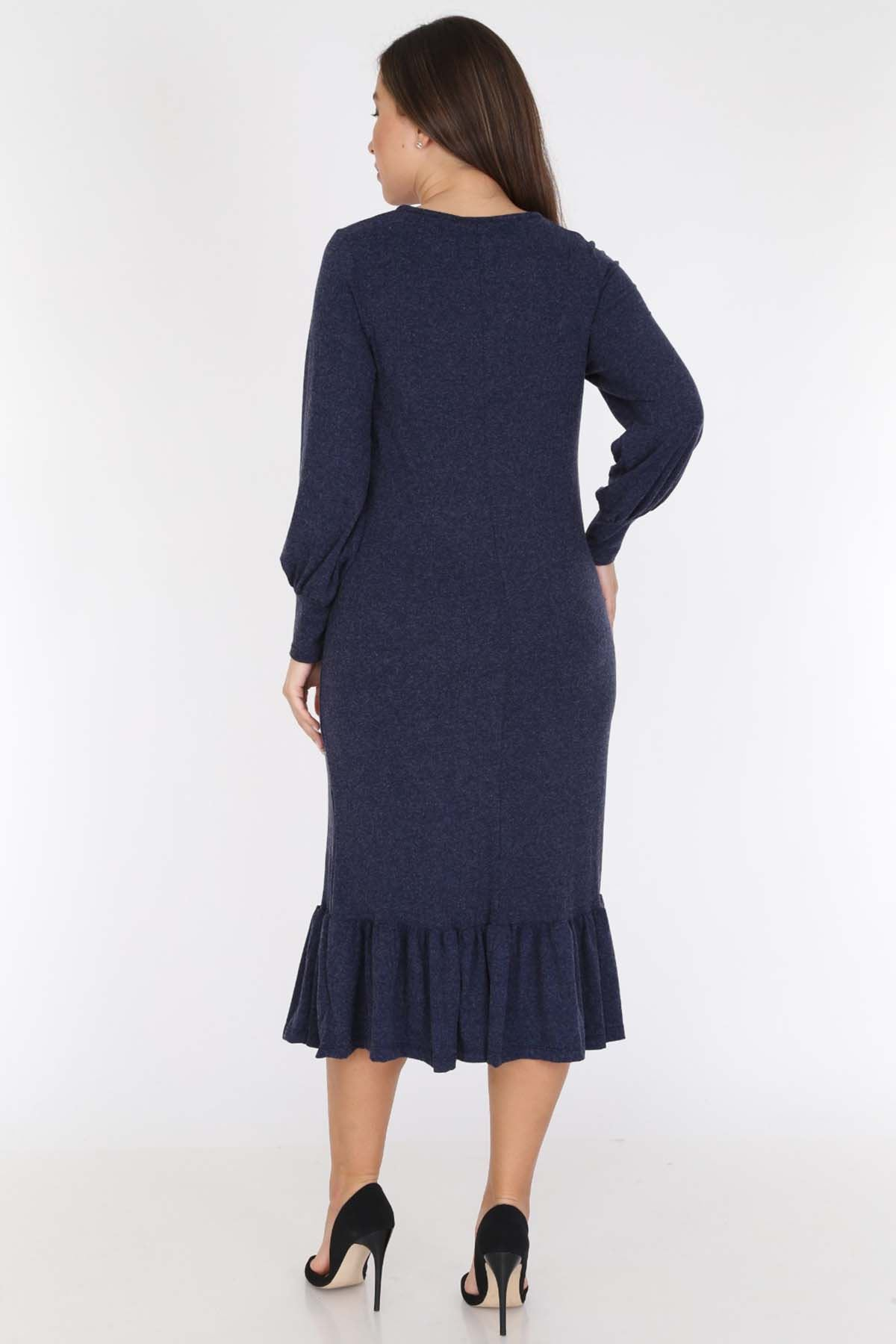 Lacivert Etek Fırfırlı Büyük Beden Elbise 20C-0782