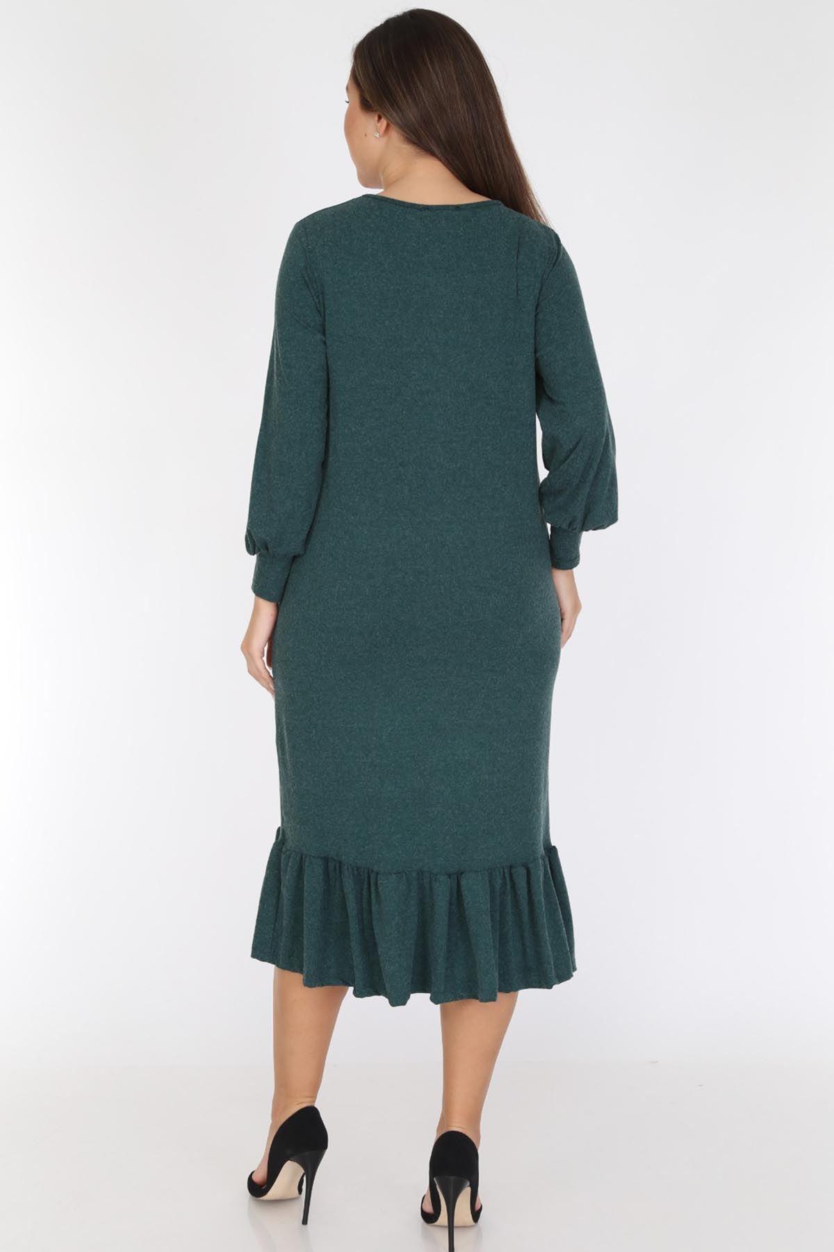 Yeşil Eteği Fırfırlı Büyük Beden Elbise 19C-0781