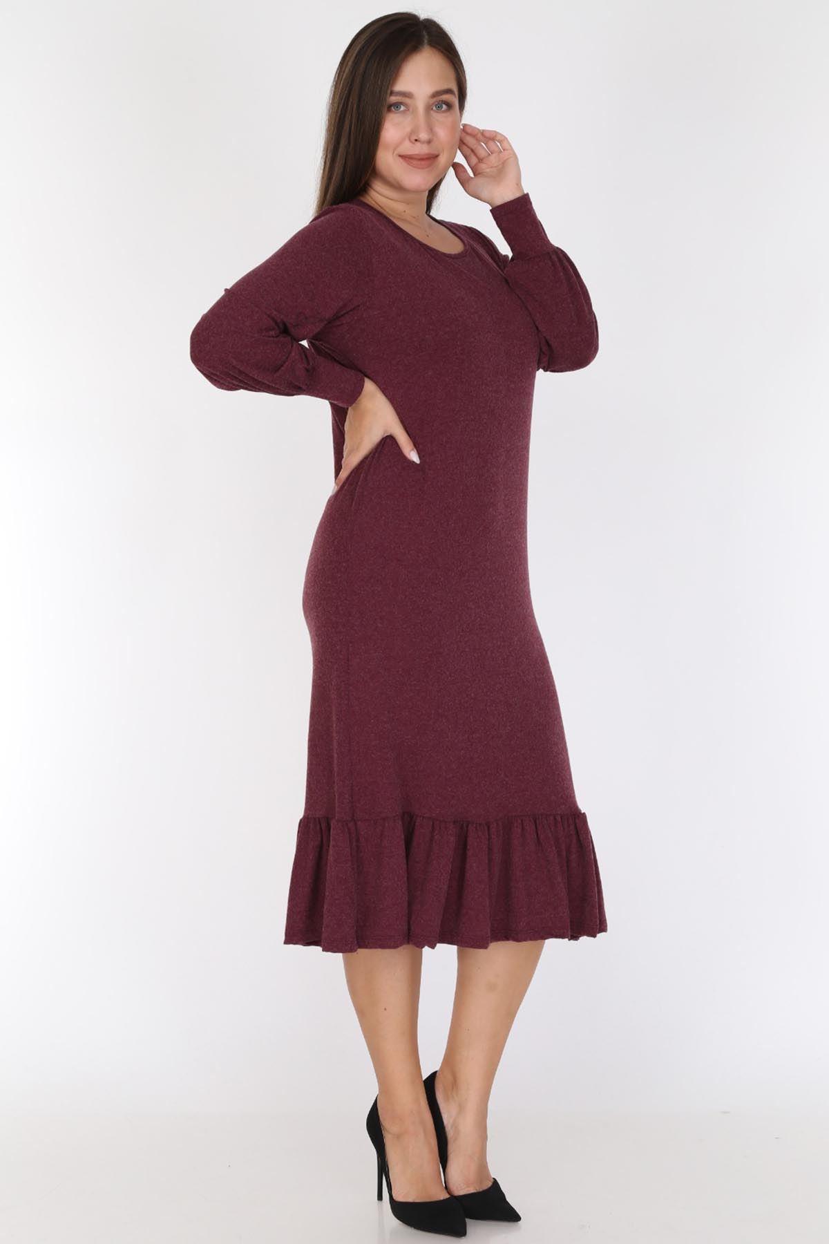 Bordo Eteği Fırfırlı Elbise 16E-0785