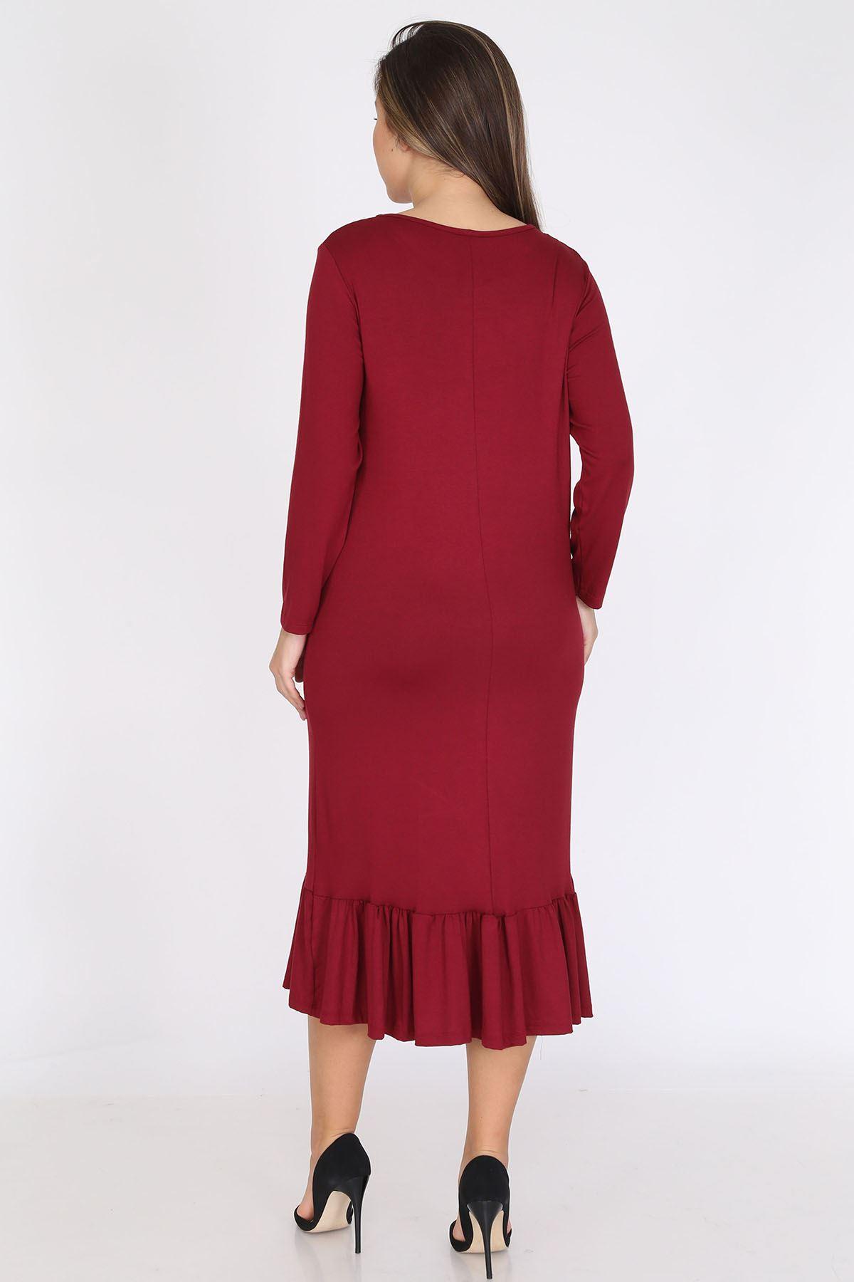 Bordo Uzun Kollu Büyük Beden Elbise 12C-0786