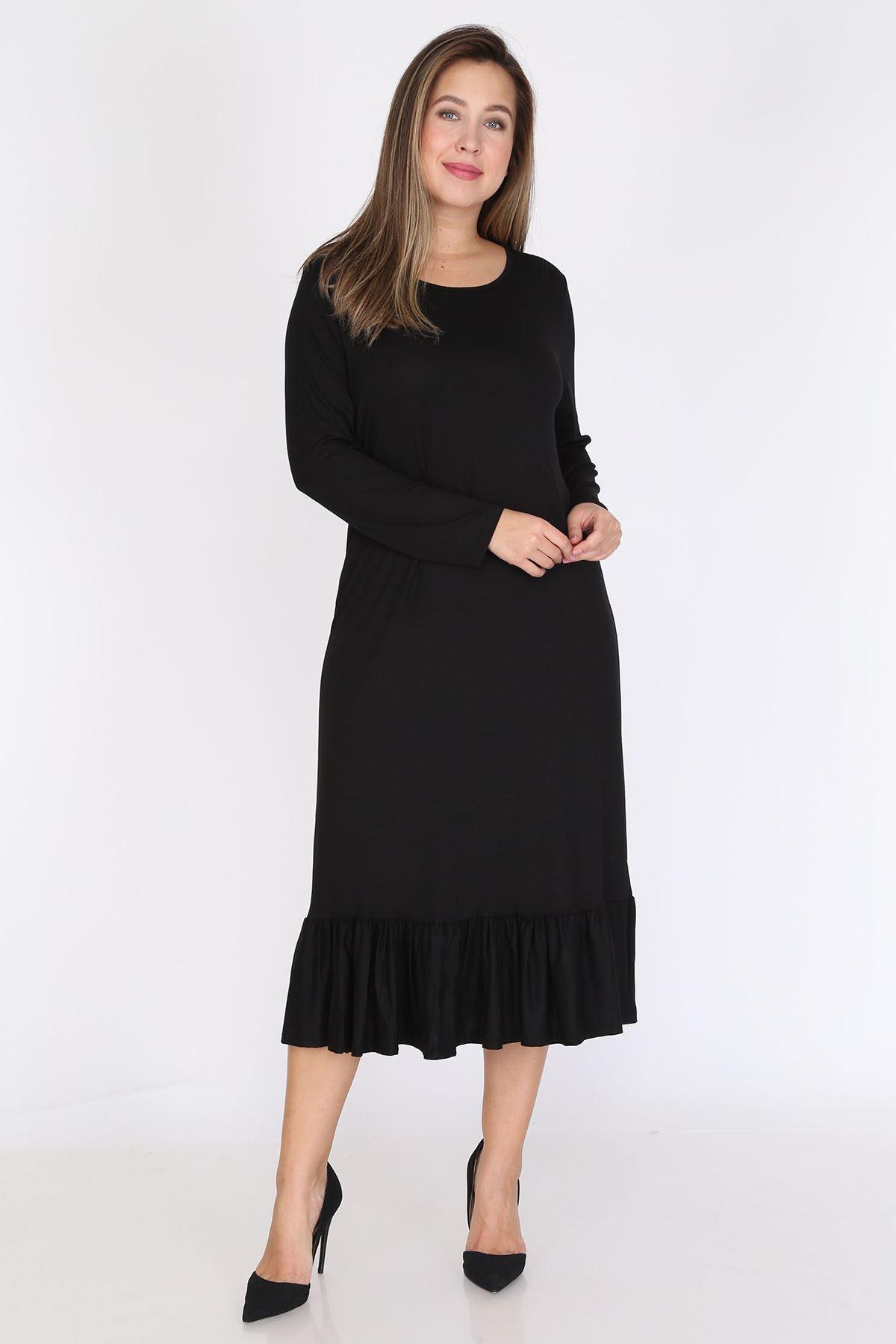 Siyah Uzun Kollu Büyük Beden Elbise 12D-0788