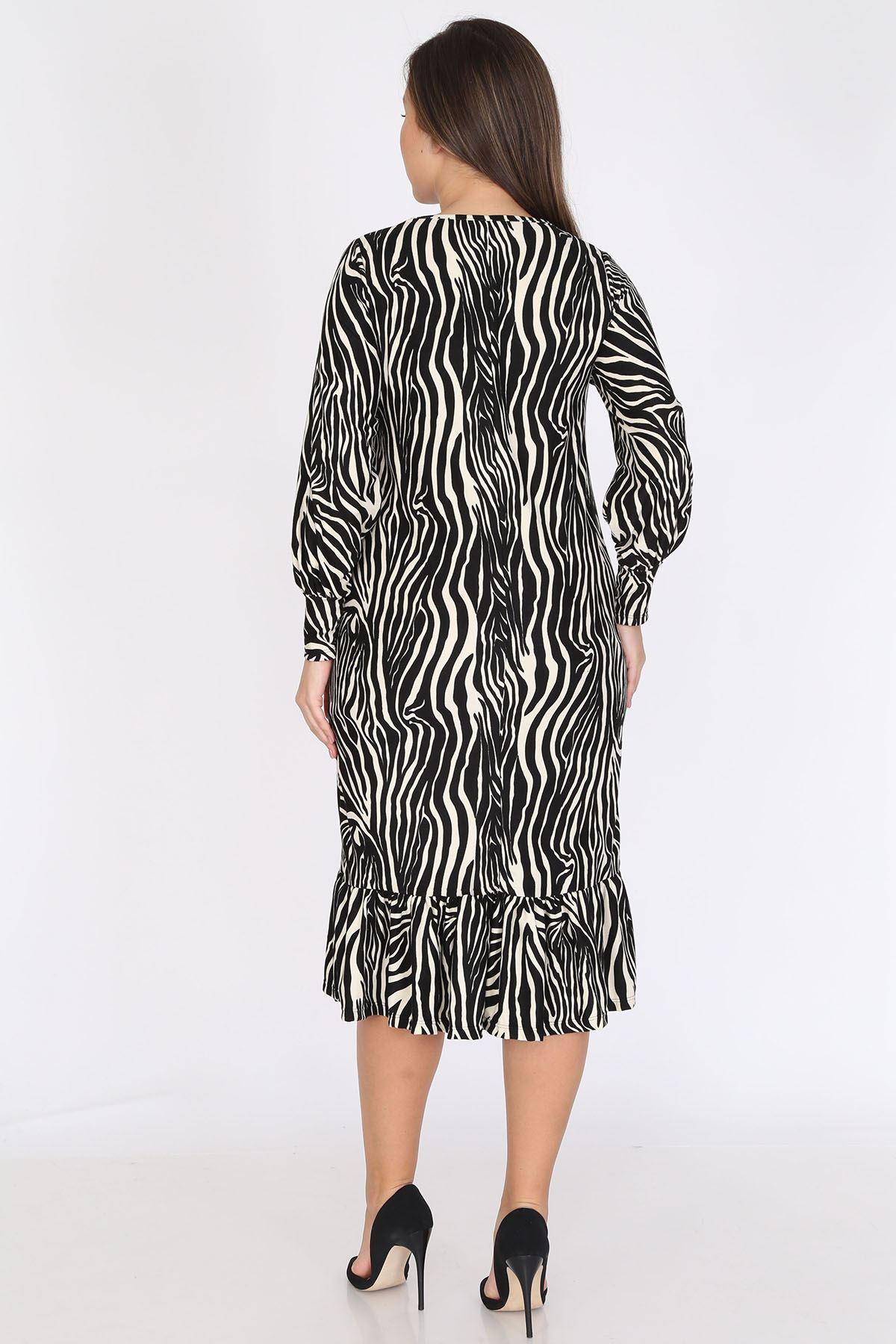 Zebra Manşet Kollu Büyük Beden Elbise 23C-0792