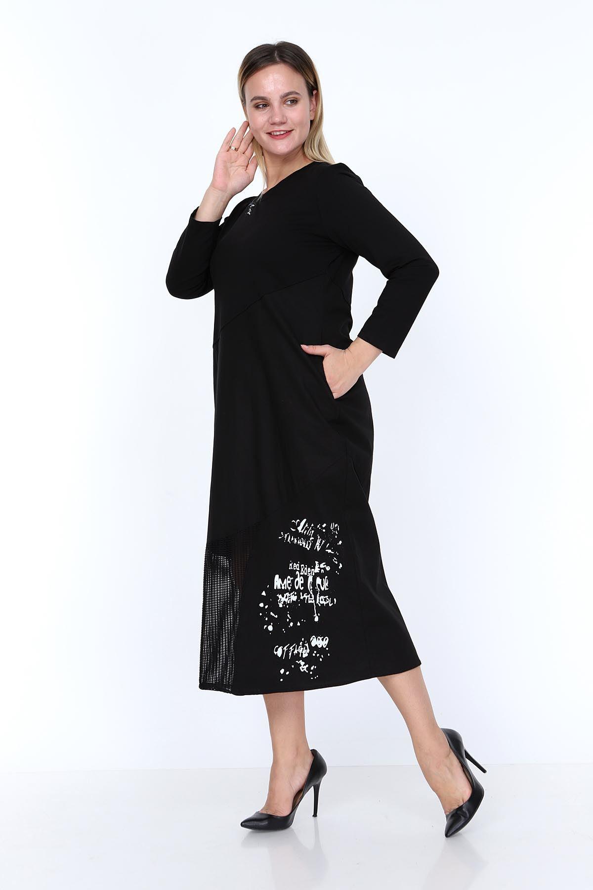 Siyah Tasarım Büyük Beden Elbise 9F-0811